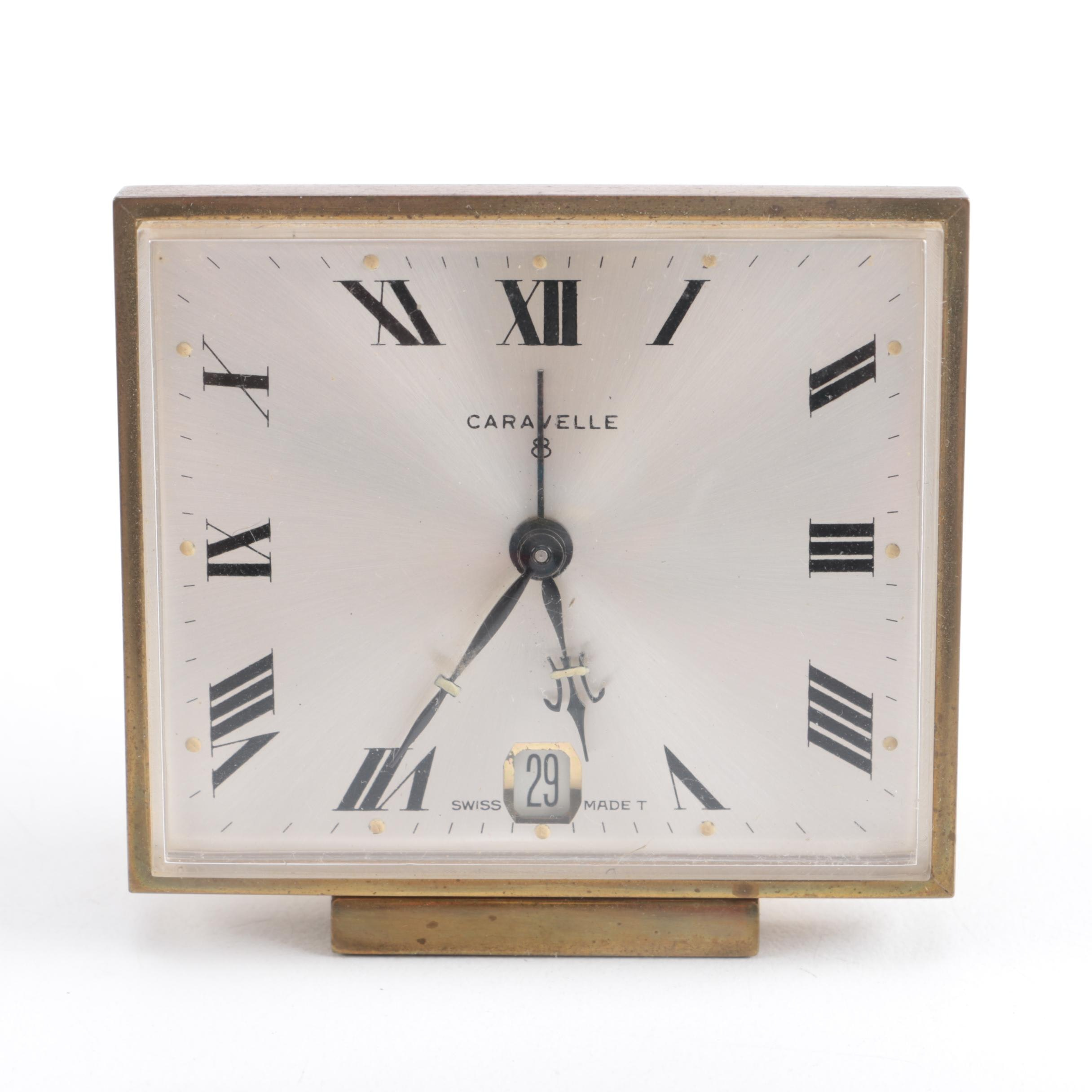 Caravelle 8 Day Brass Alarm Clock