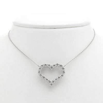 Tiffany & Co. Platinum Necklace with 2.00 CTW Diamond Heart Shape Pendant