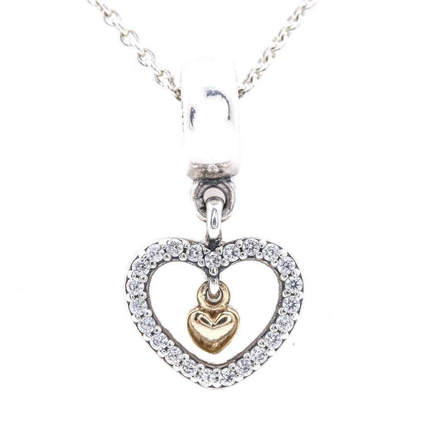 178a8a577 Pandora Sterling Silver Cubic Zirconia Heart Charm With Chain Necklace :  EBTH