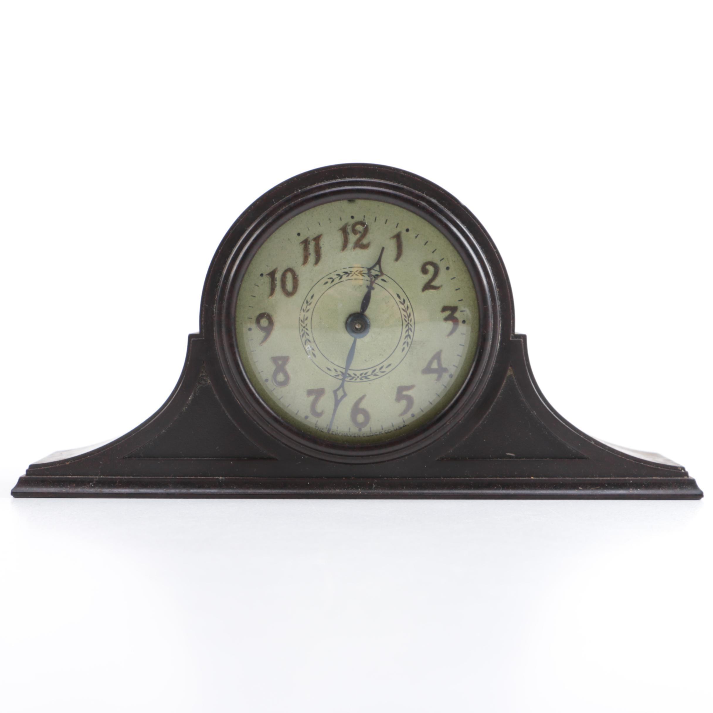 New Haven Clock Co. Wood Mantel Clock