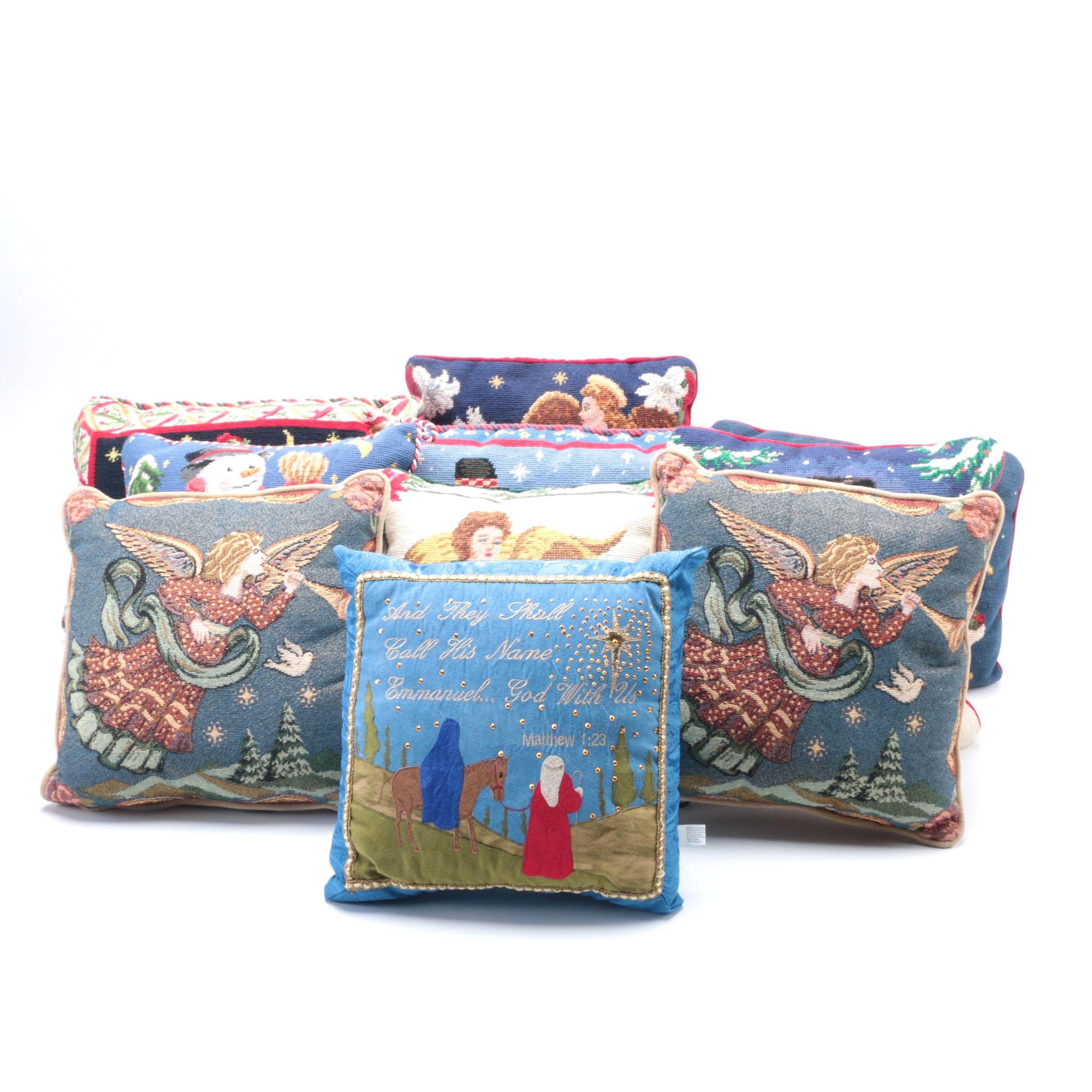 Assortment of Christmas Themed Throw Pillows