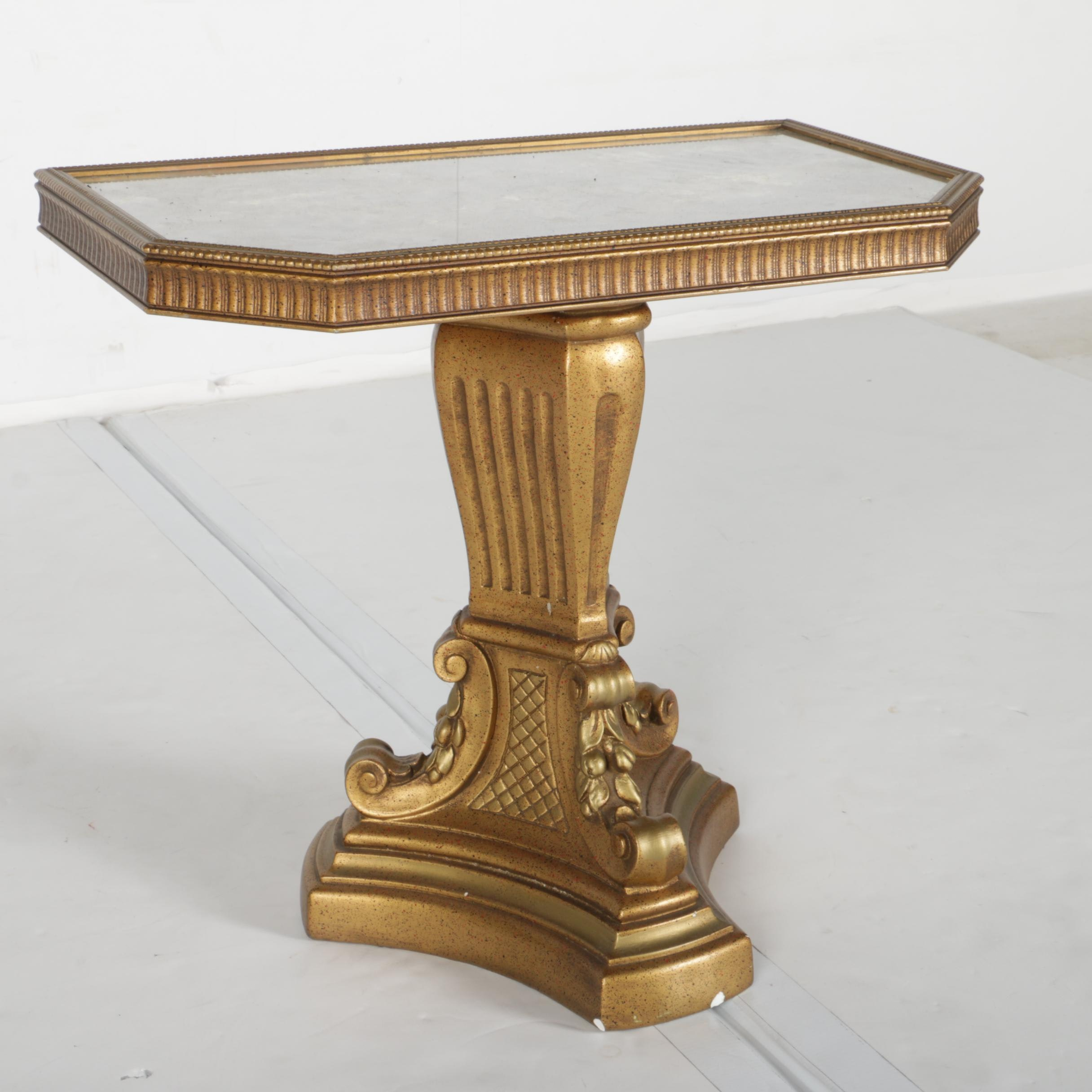 Vintage Hollywood Regency Style Side Table with Marble Top