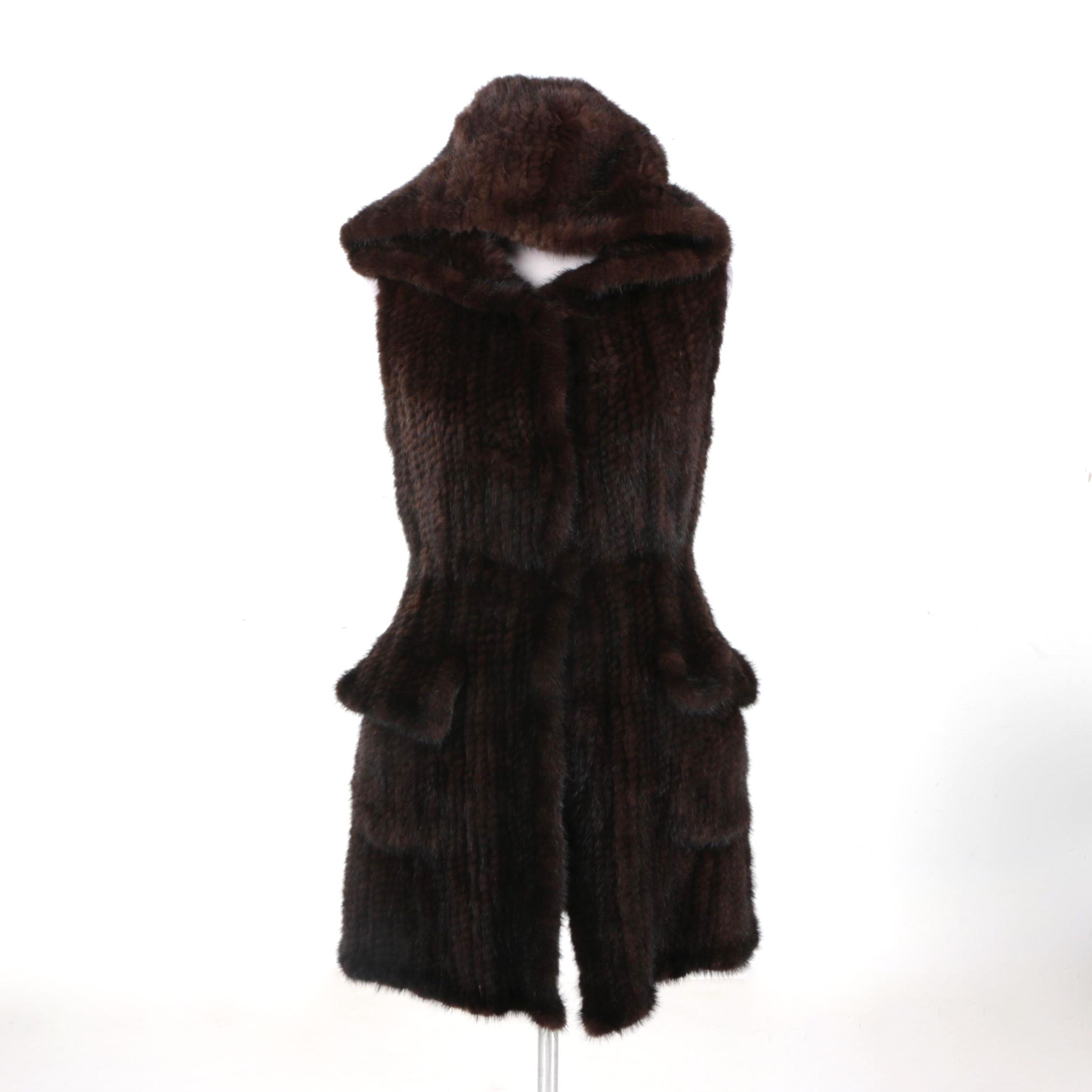 Janucci Women's Mink Full-Length Hooded Vest