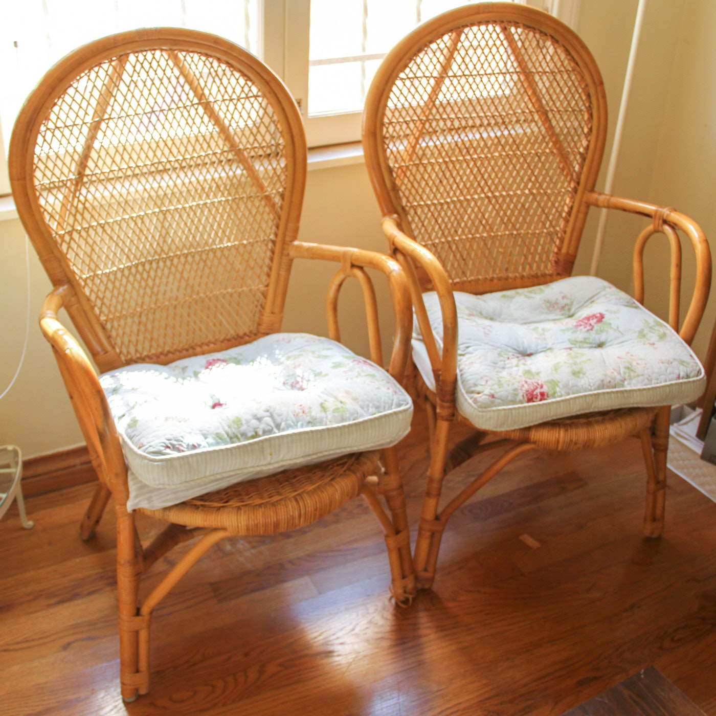 Pair of Bamboo and Rattan Balloon Back Chairs