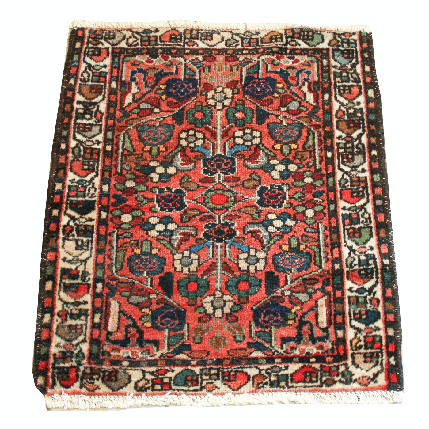 Semi-Antique Hand-Knotted Kazak Accent Rug