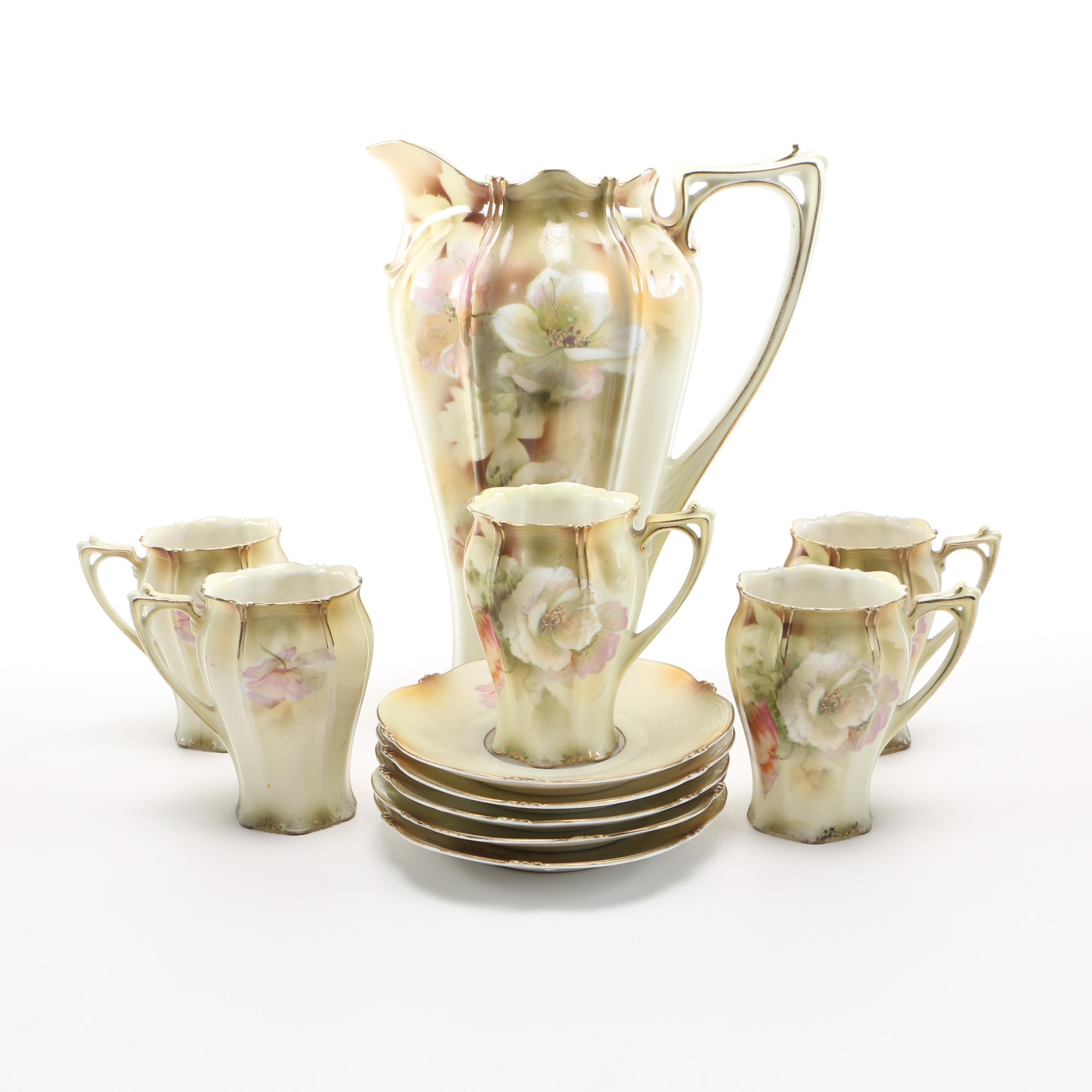 R. S. Prussia Porcelain Hot Chocolate Set