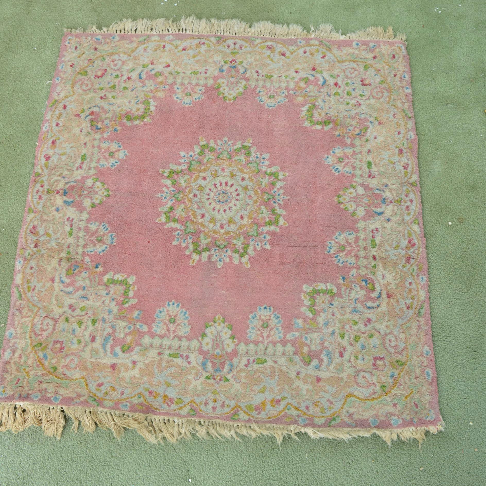 Hand-Knotted Chinese Floral Accent Rug