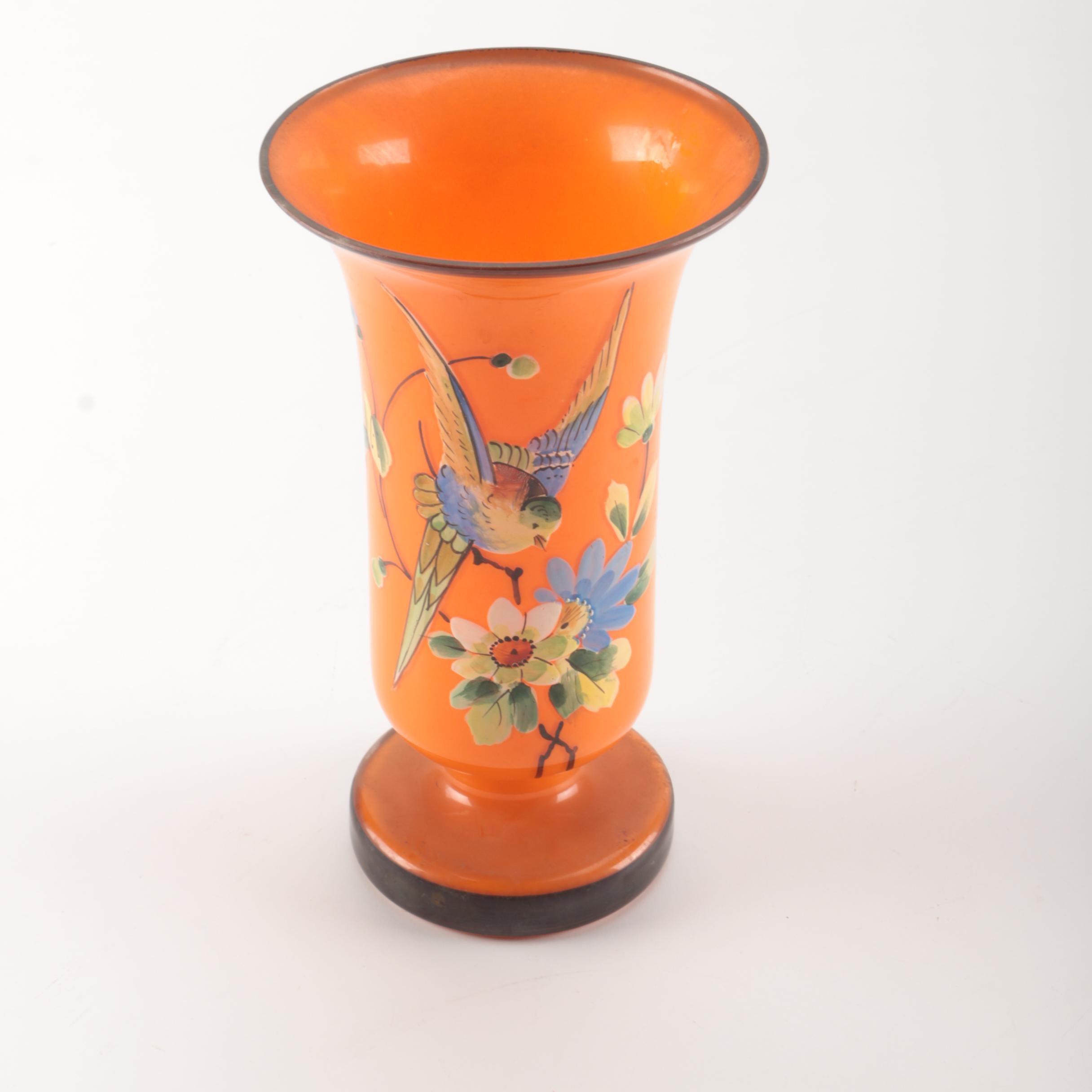 Orange Glass Vase With Bird and Flower Motif