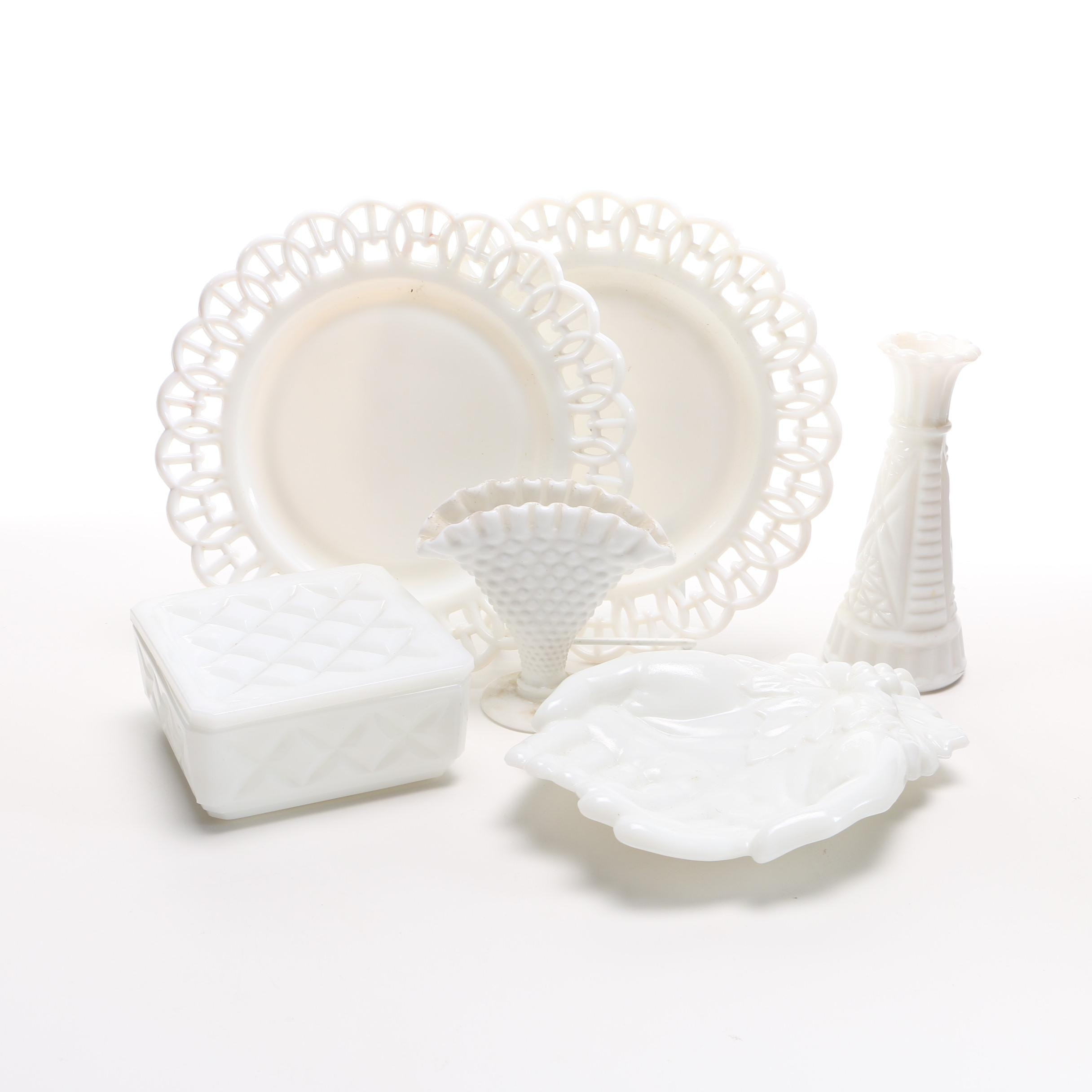 Collection of Antique and Vintage Decorative Milk Glass