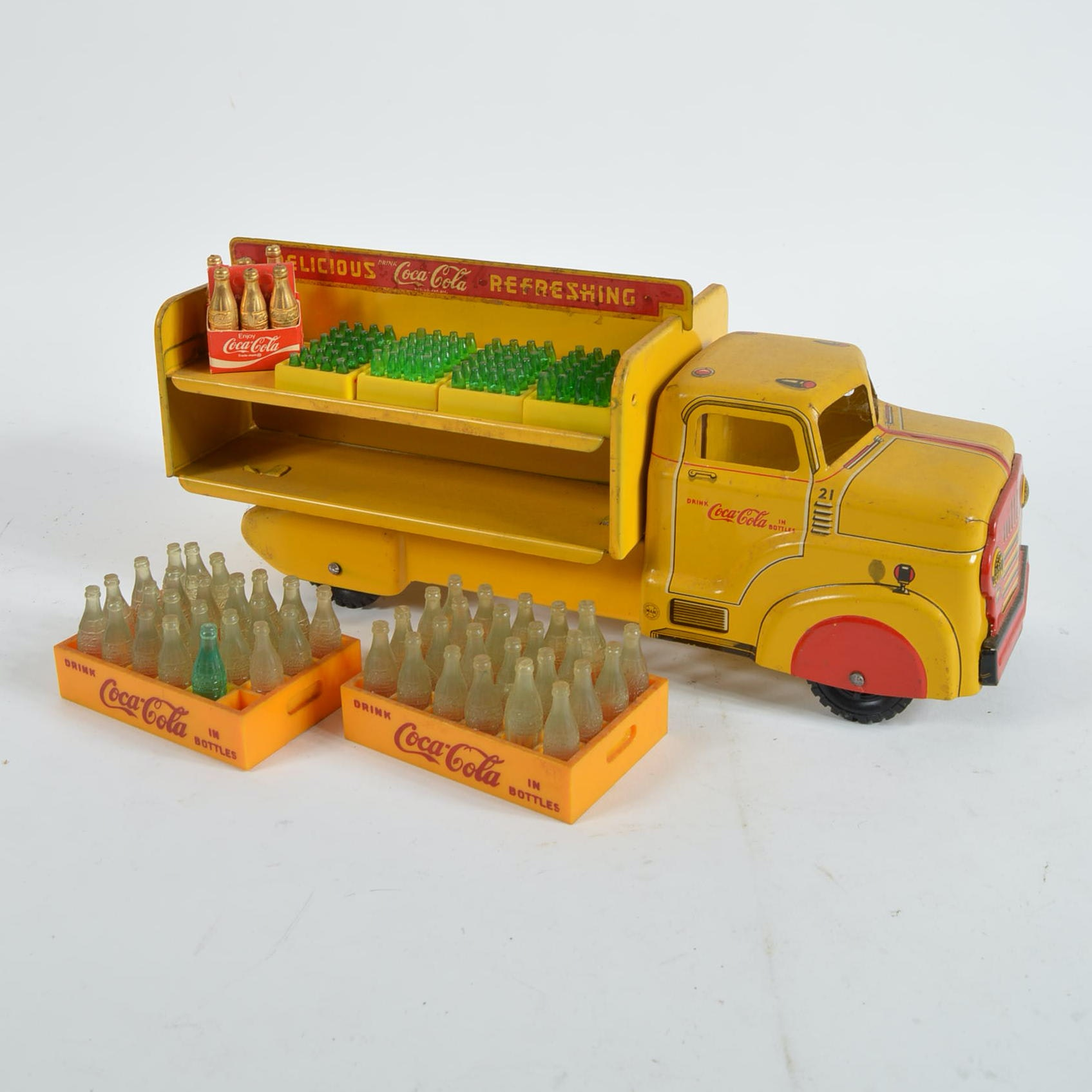 Metal Coca-Cola Toy Truck and Bottles