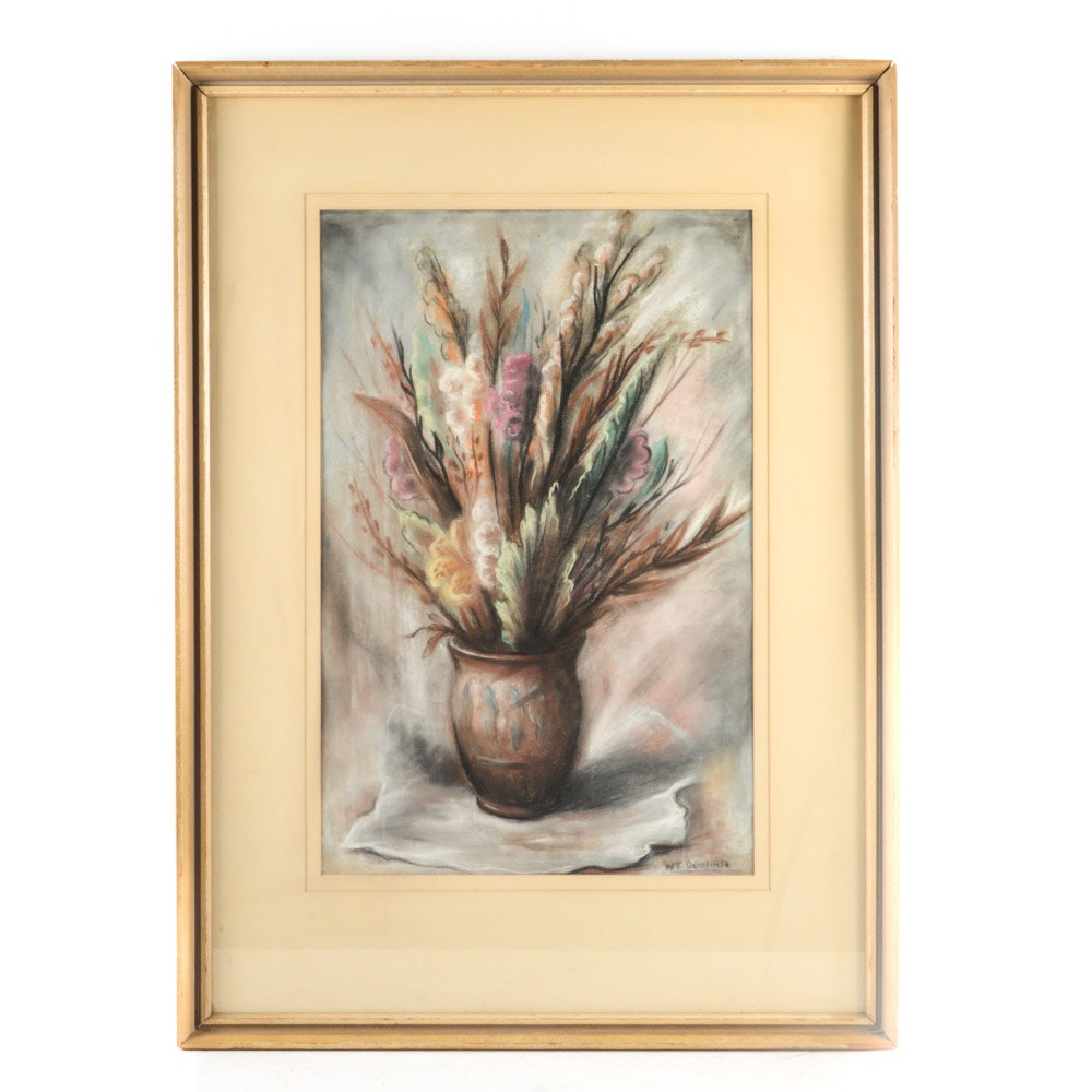 Pastel Drawing on Paper of Flowers in Vase