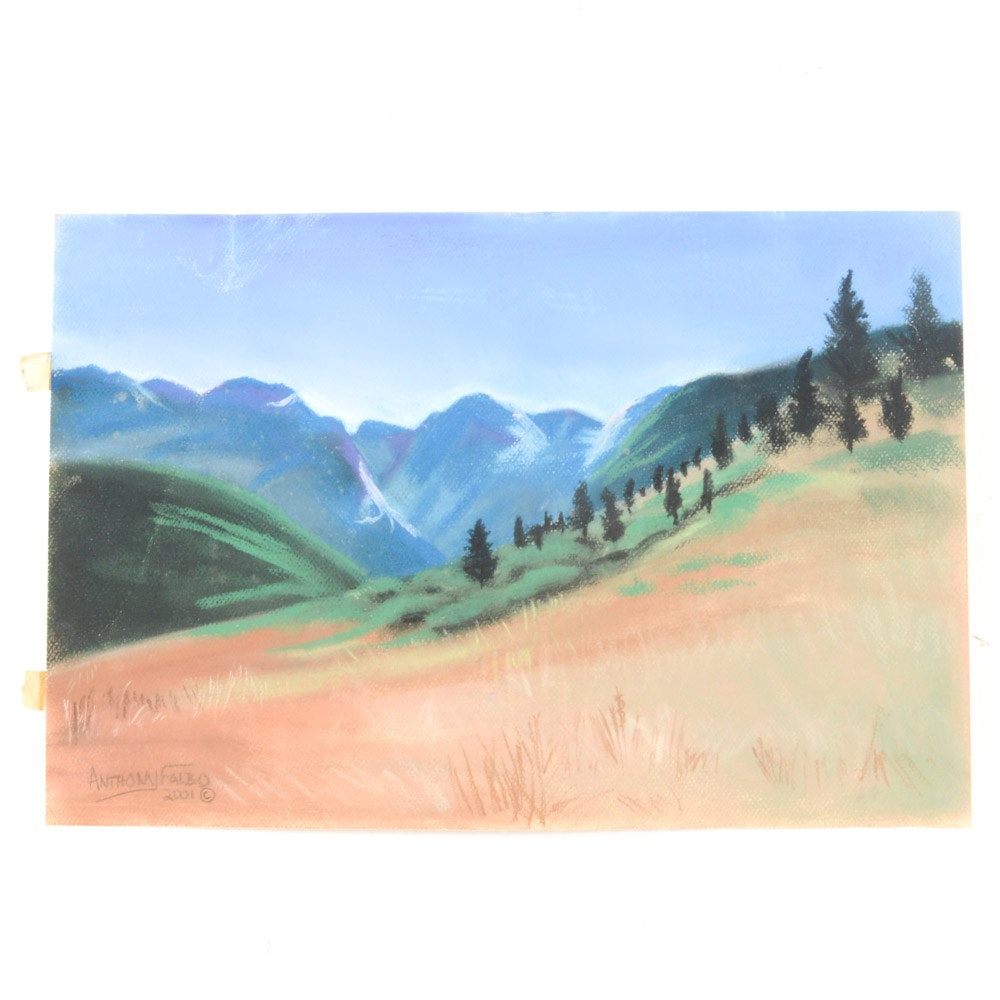 Anthony Falbo Unframed Pastel Landscape on Paper