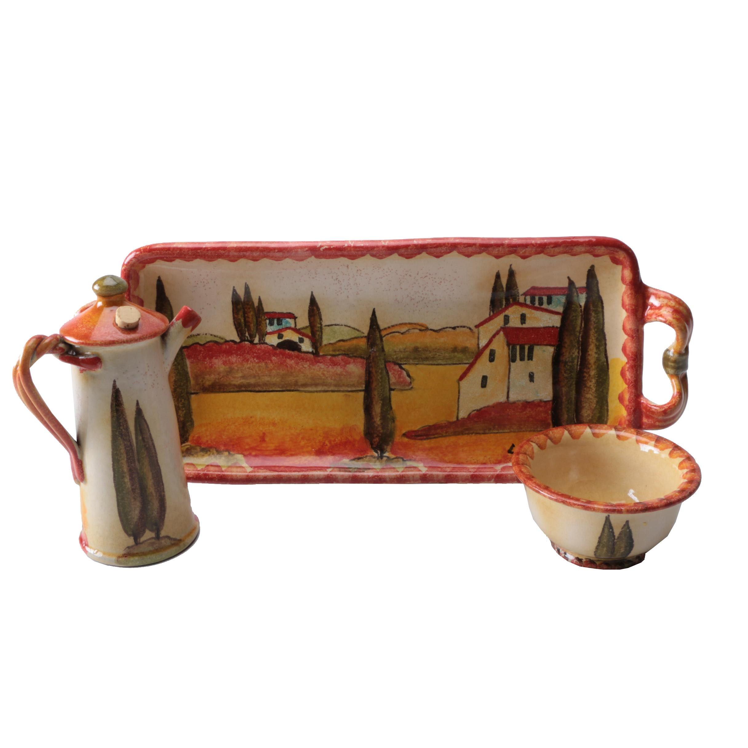 Italian Hand Painted Ceramic Serving Pieces