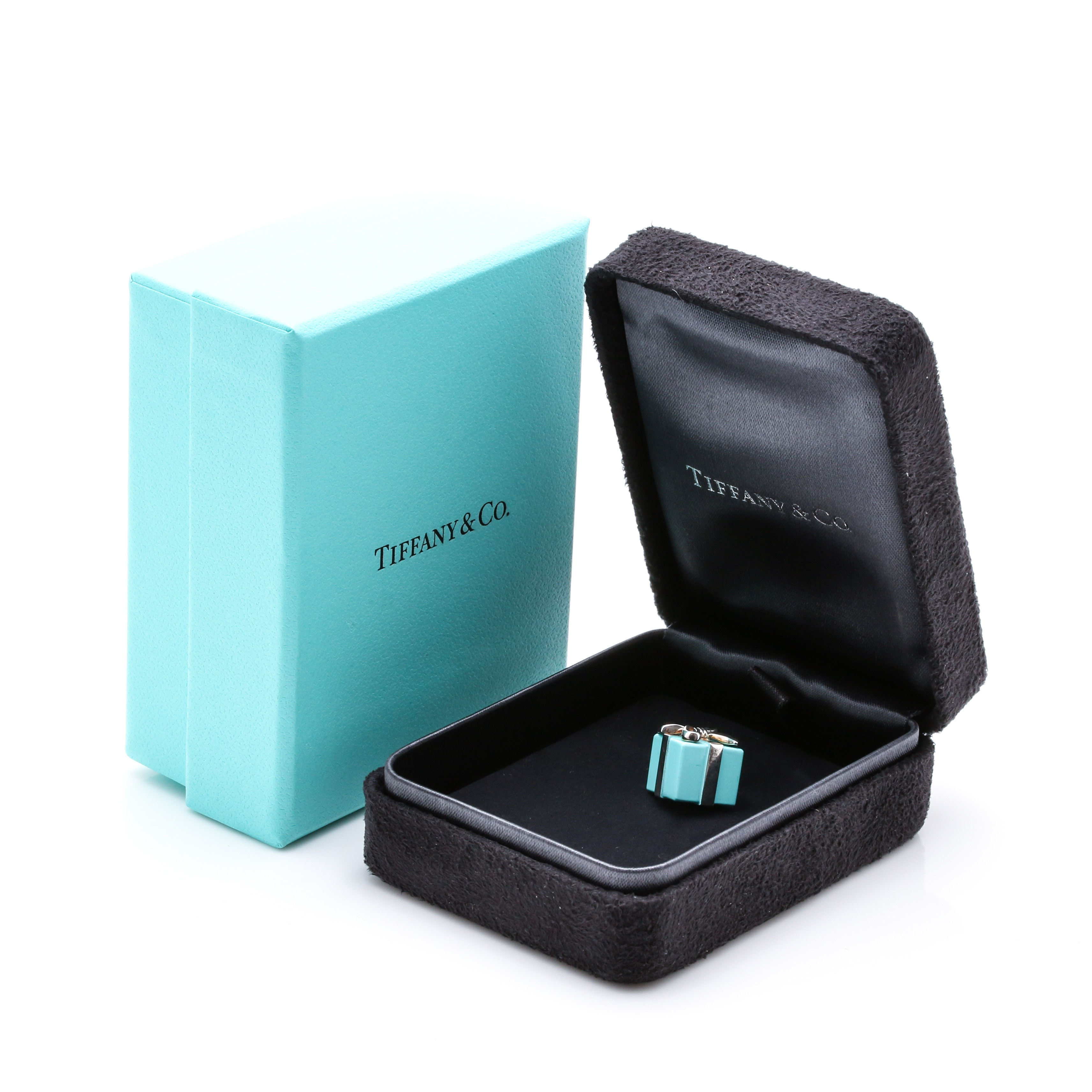 Tiffany & Co. Sterling Silver and Enamel Gift Box Charm