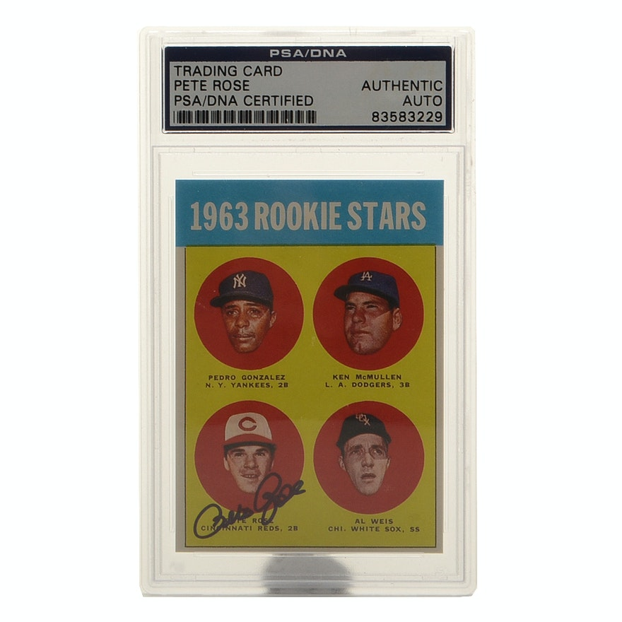 1963 Pete Rose Signed Reprint Topps Rookie Card Psa