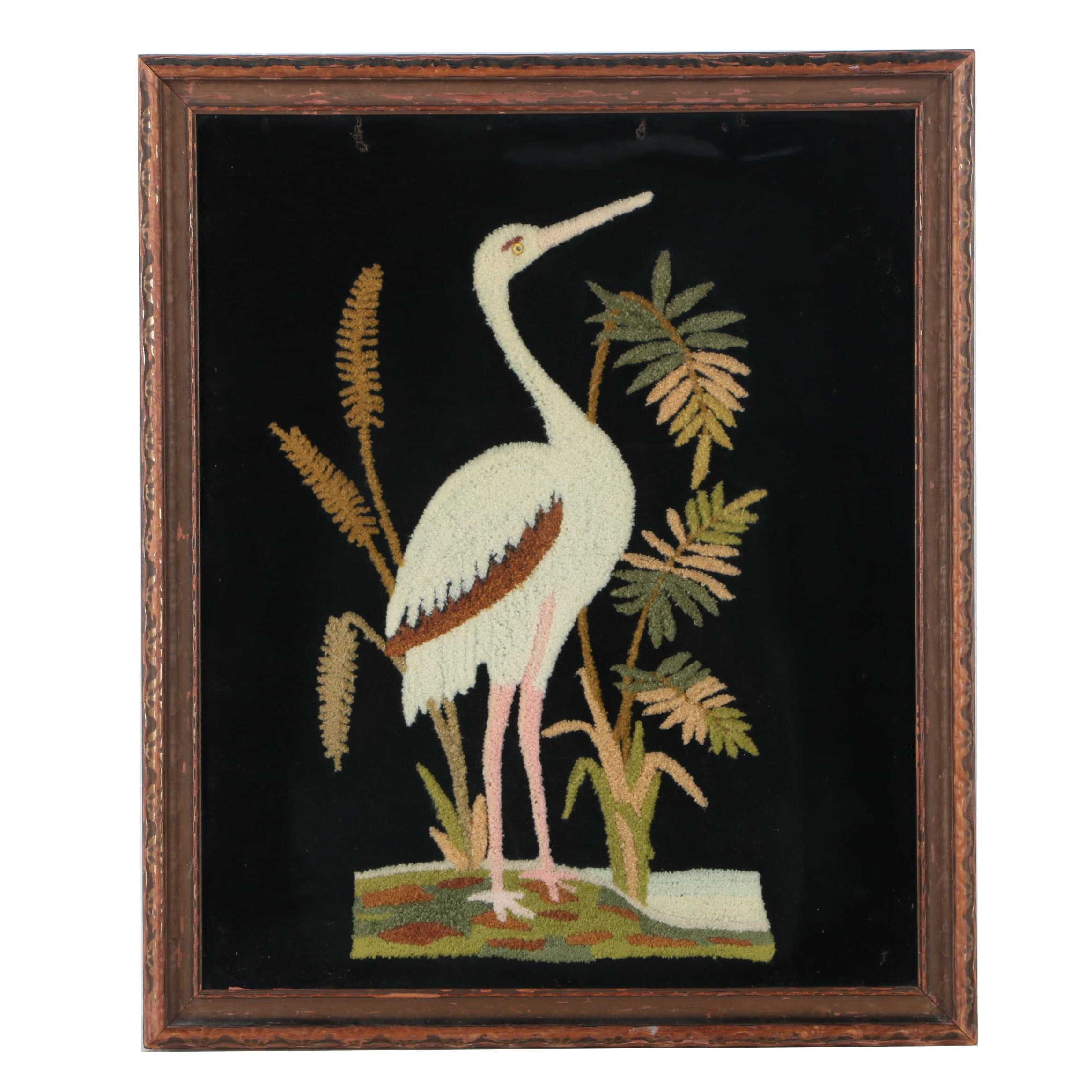 Pile Embroidery of a Crane