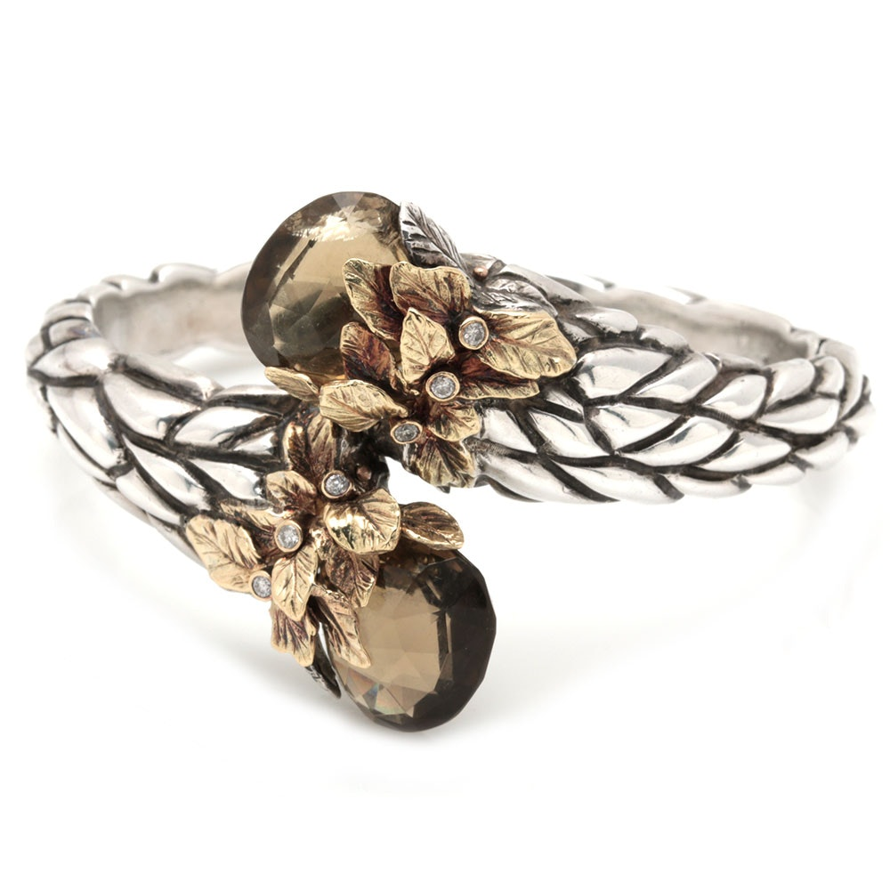 Sterling Silver and 18K Yellow Gold Smoky Quartz and Diamond Hinged Bypass Cuff Bracelet