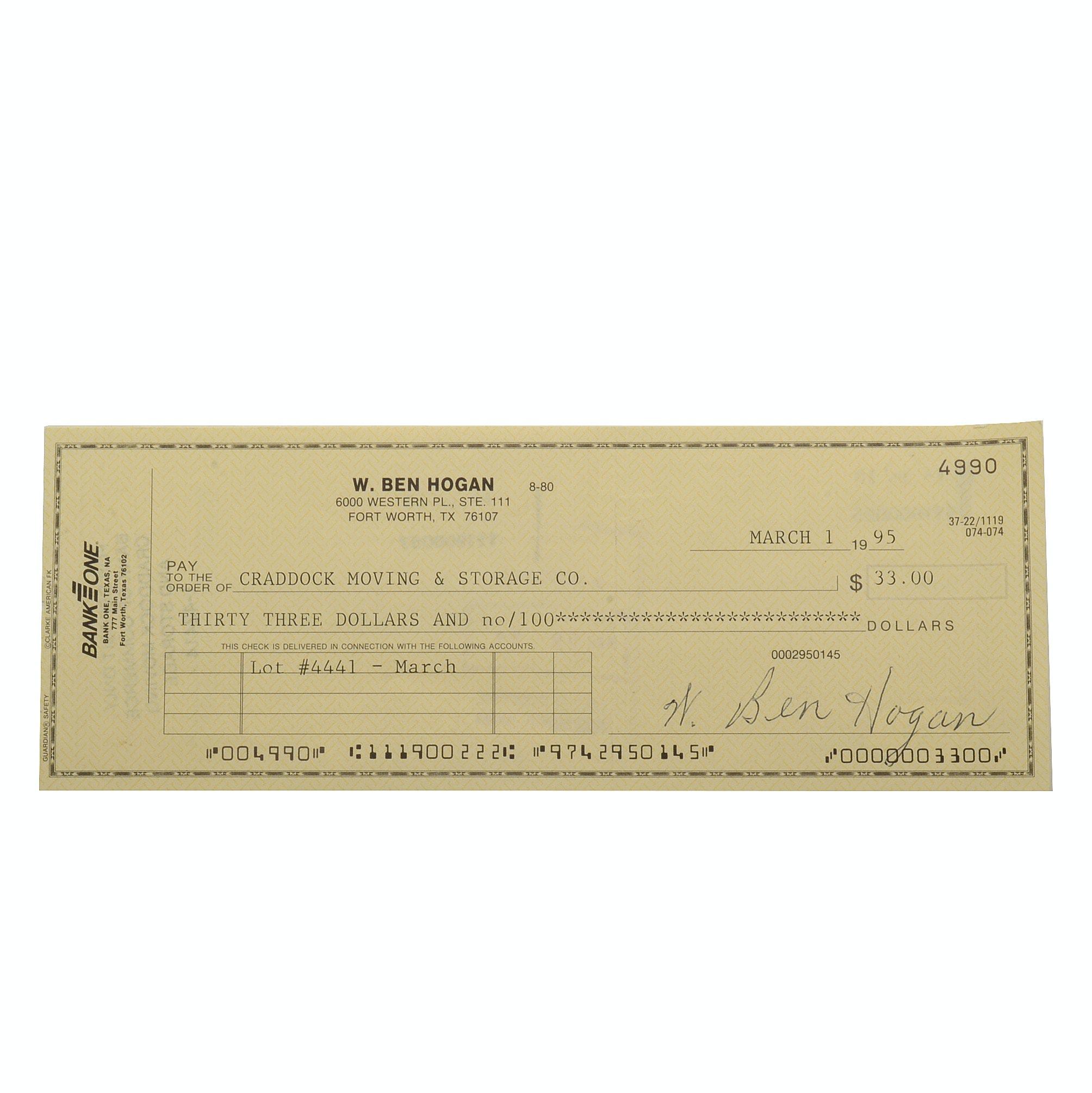 Ben Hogan Golfing Great Signed Check JSA COA