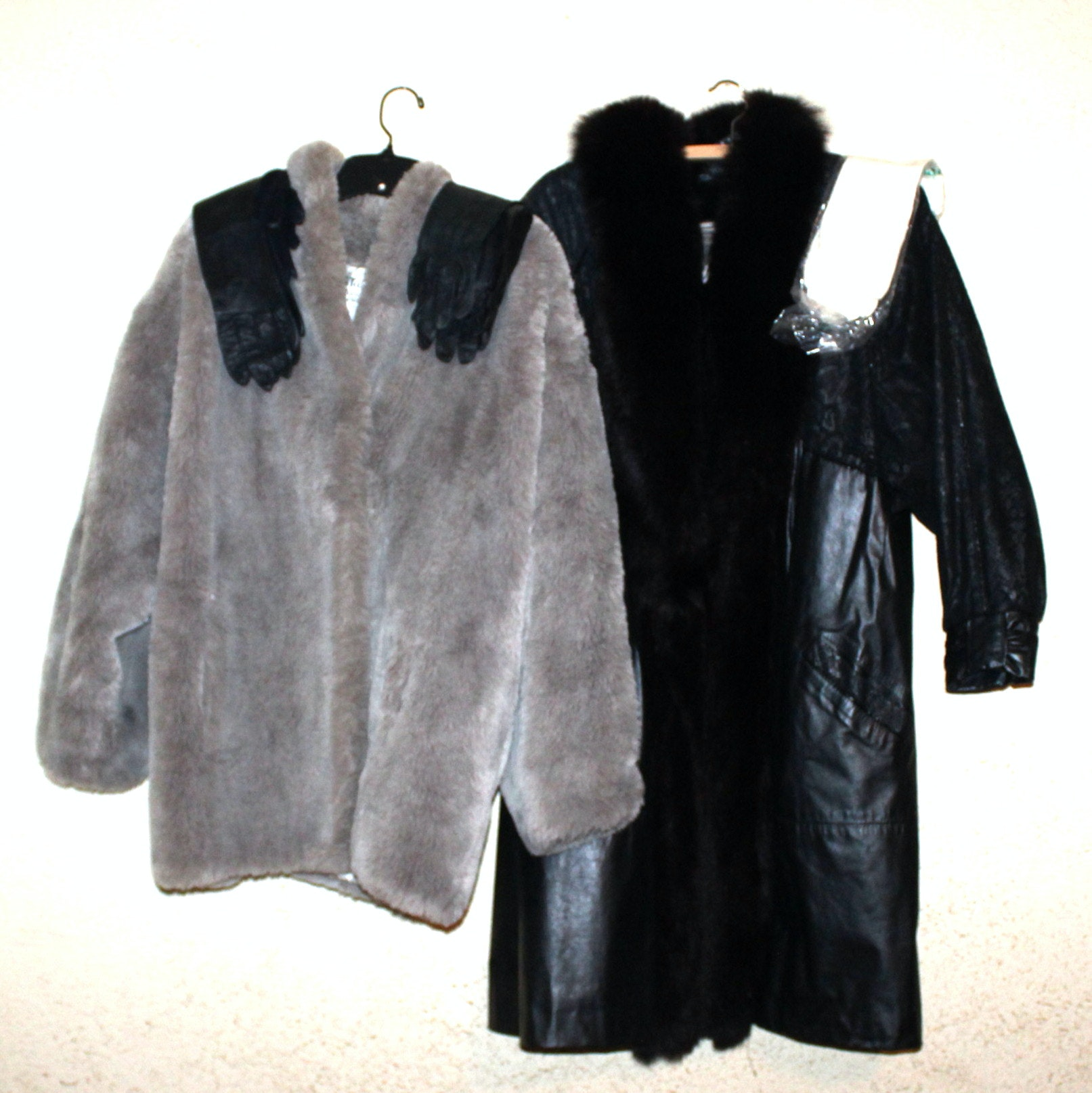 Faux Fur Jacket, Fur Trimmed Leather Coat and Kid Gloves