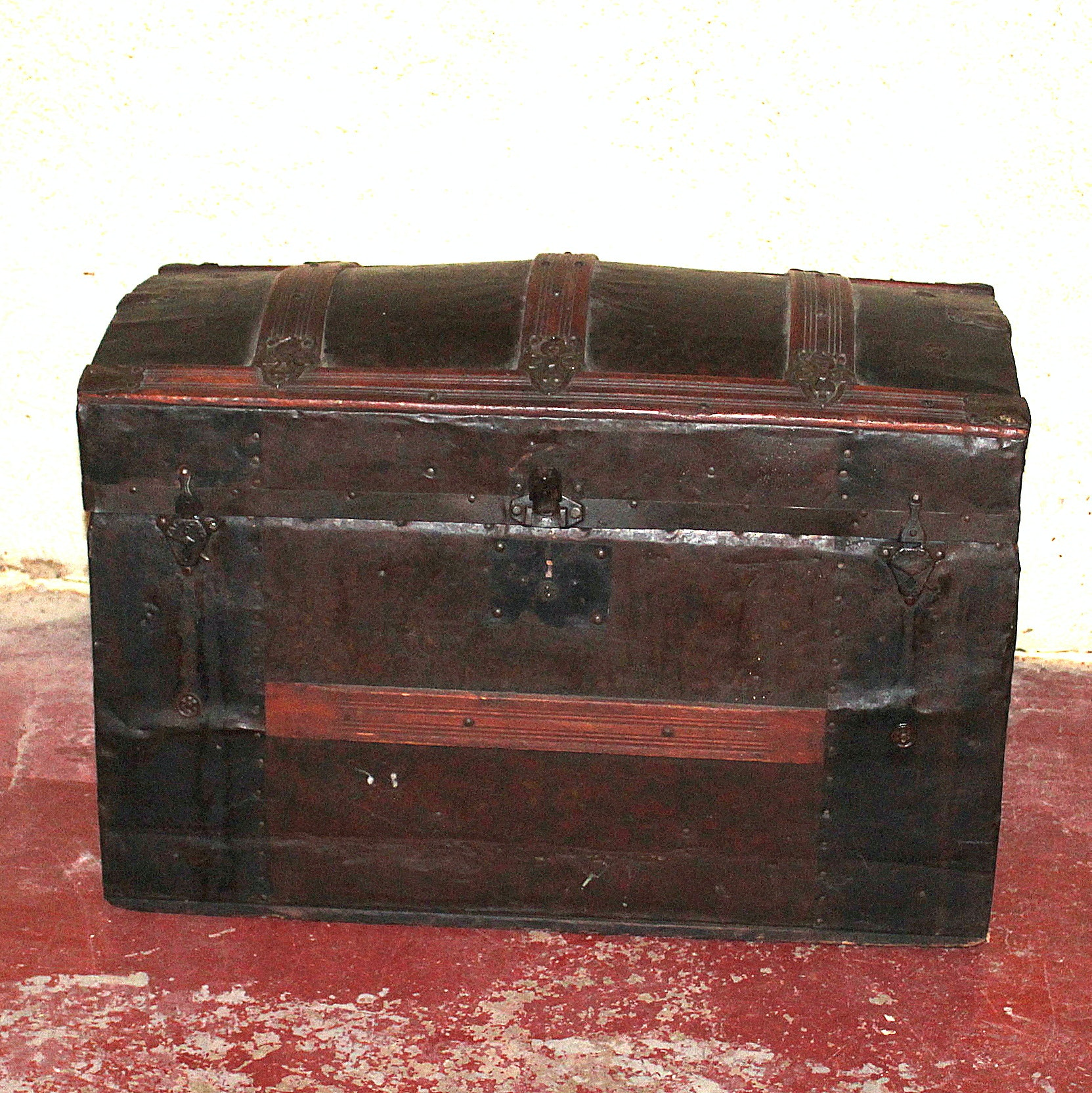 Metal-Covered Antique Trunk