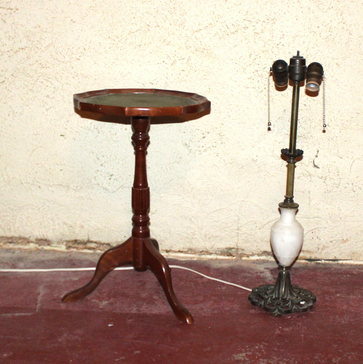 Occasional Table and Vintage Lamp