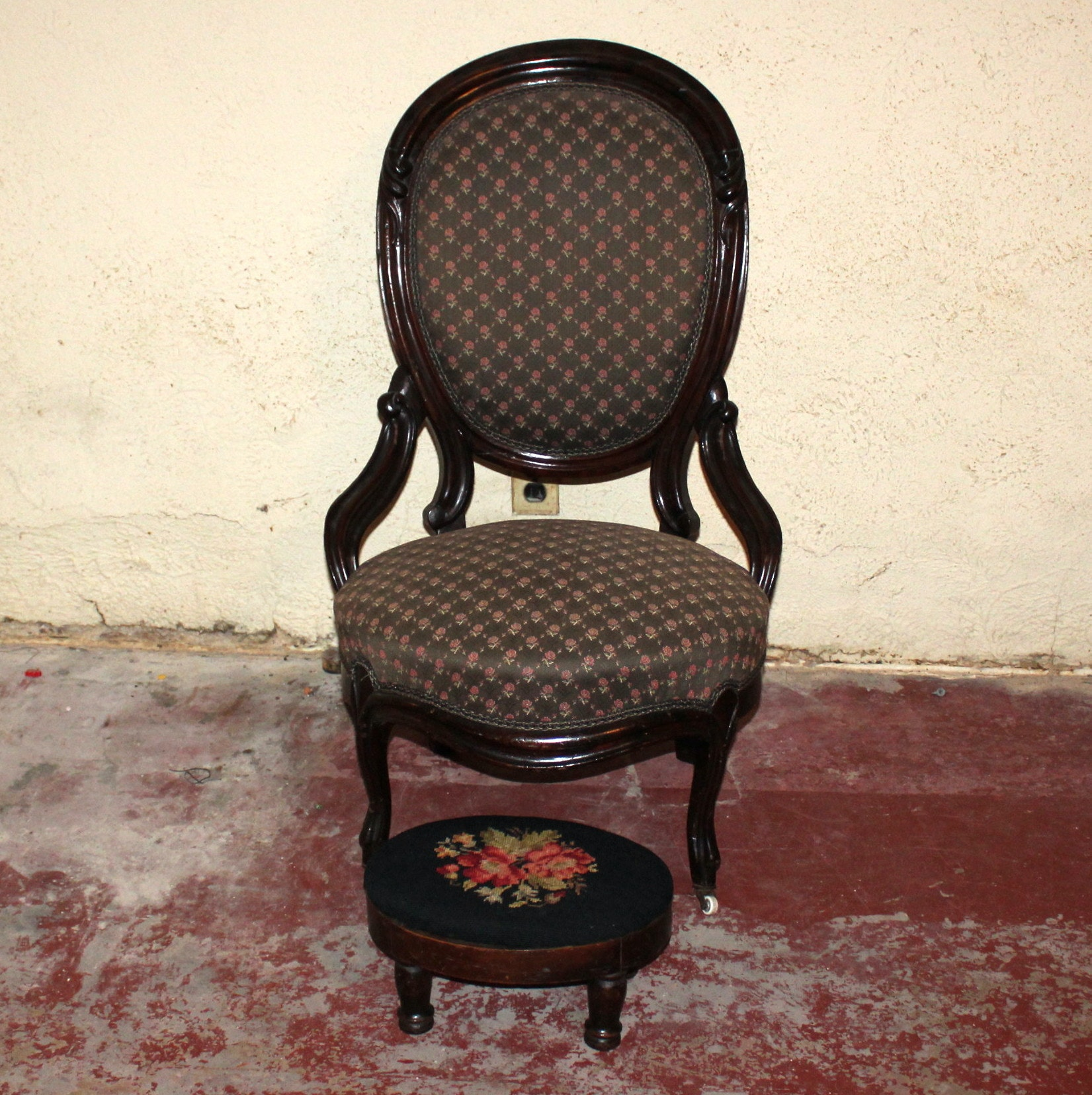 Victorian Chair and Footstool