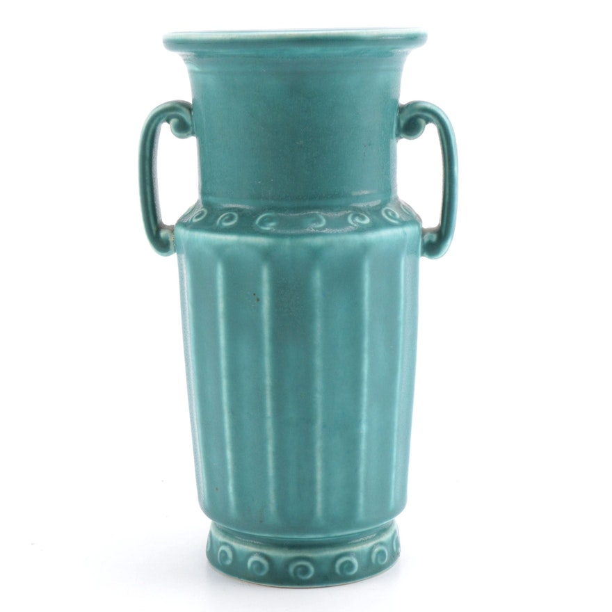 Blue Gray Rookwood Vase With Handles Ebth