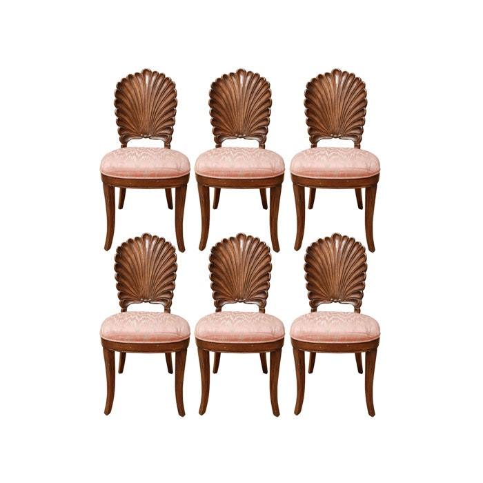 Set of Venetian Grotto Style Scalloped Shell Back Dining Chairs