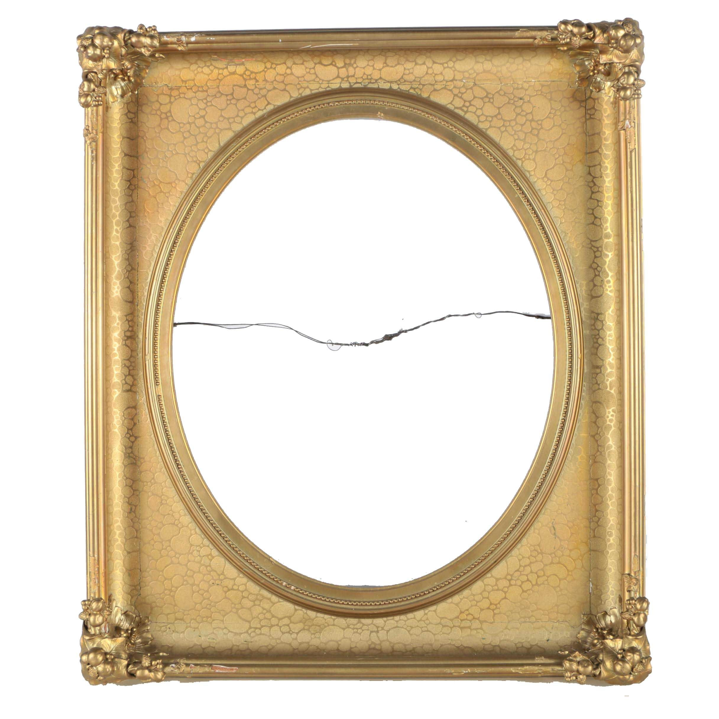Gilt Mirror Frame With Rounded Center