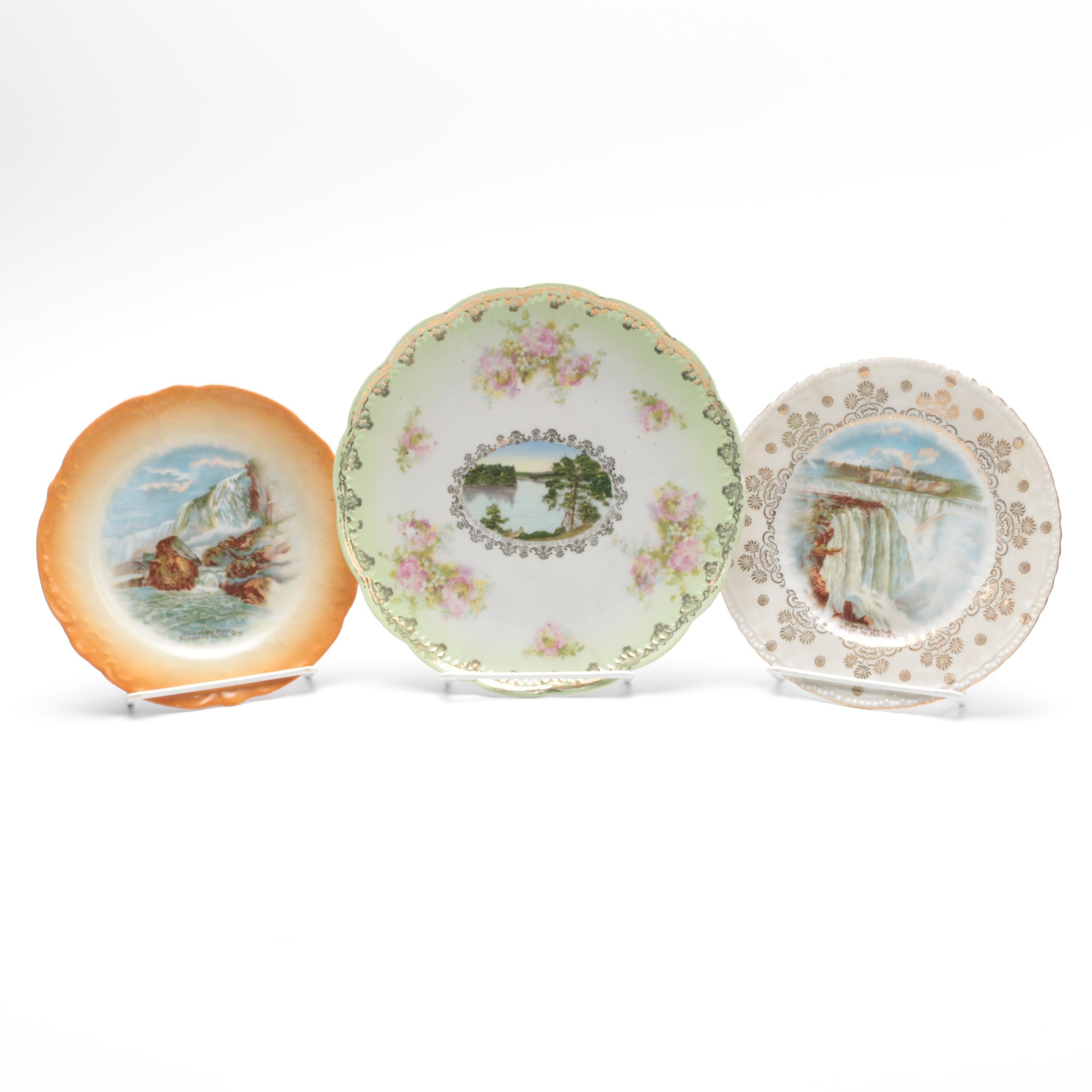 Three Porcelain Scenic Plates