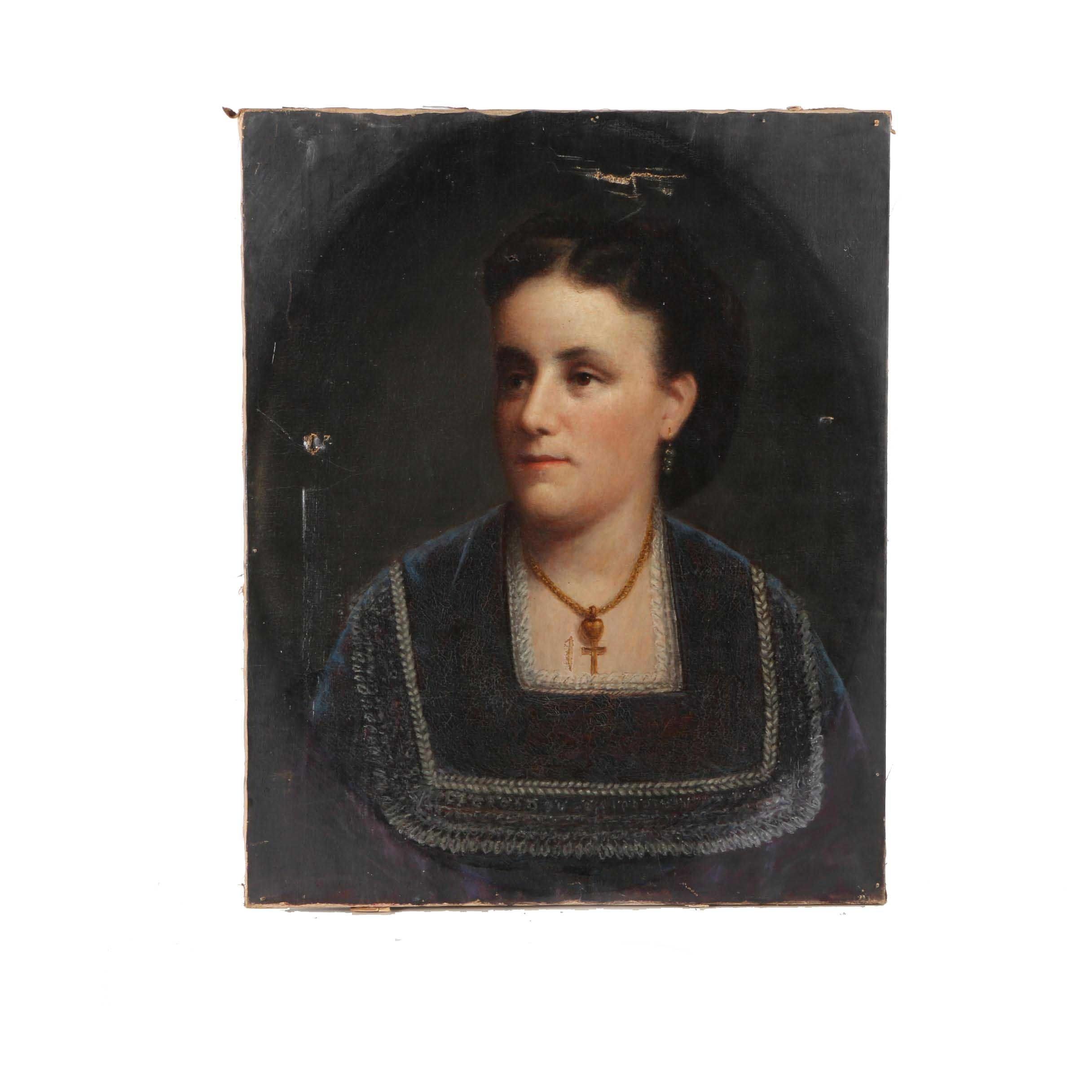 Antique Oil on Canvas Portrait of a Woman