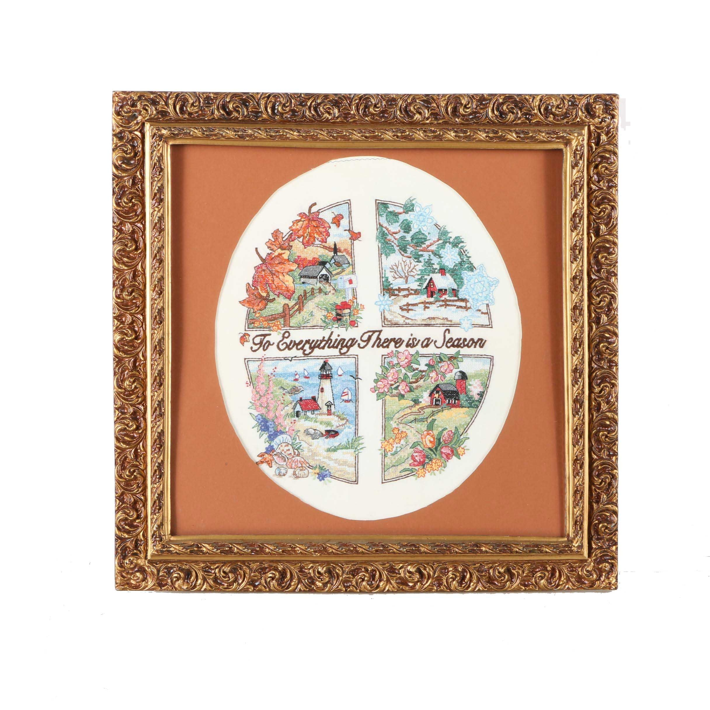 "Framed Cross-Stitch ""To Everything There is a Season"""