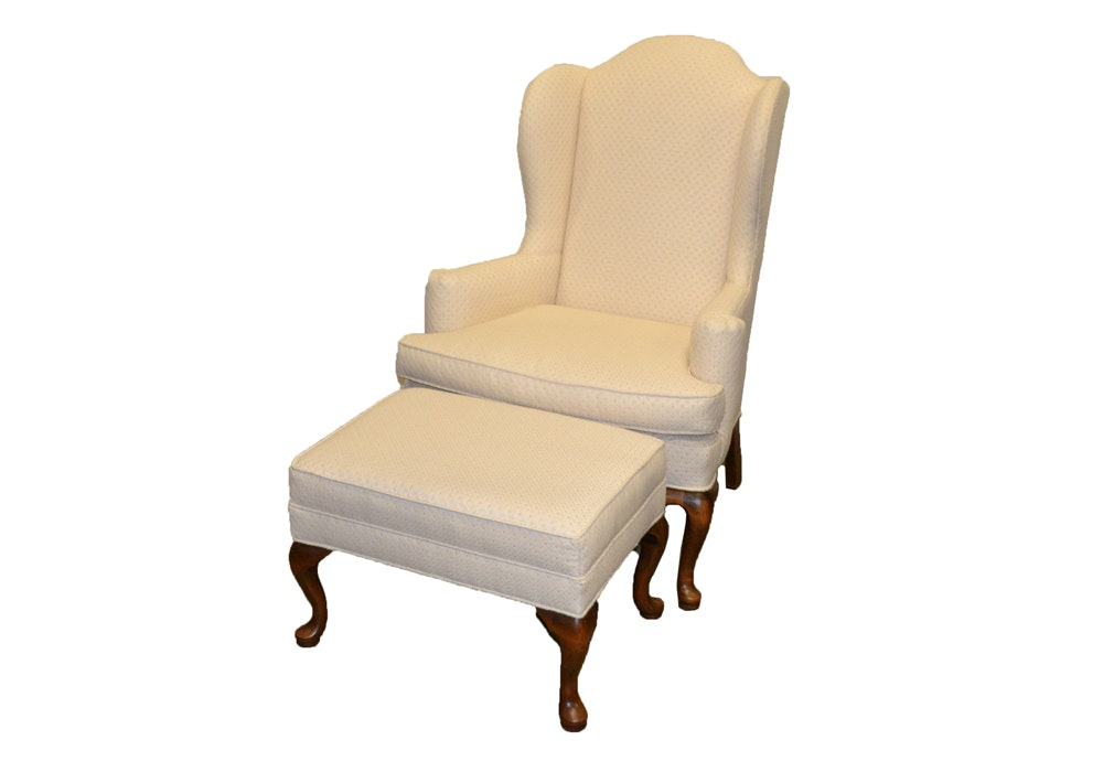 Ethan Allen Wingback Chair With Ottoman ...