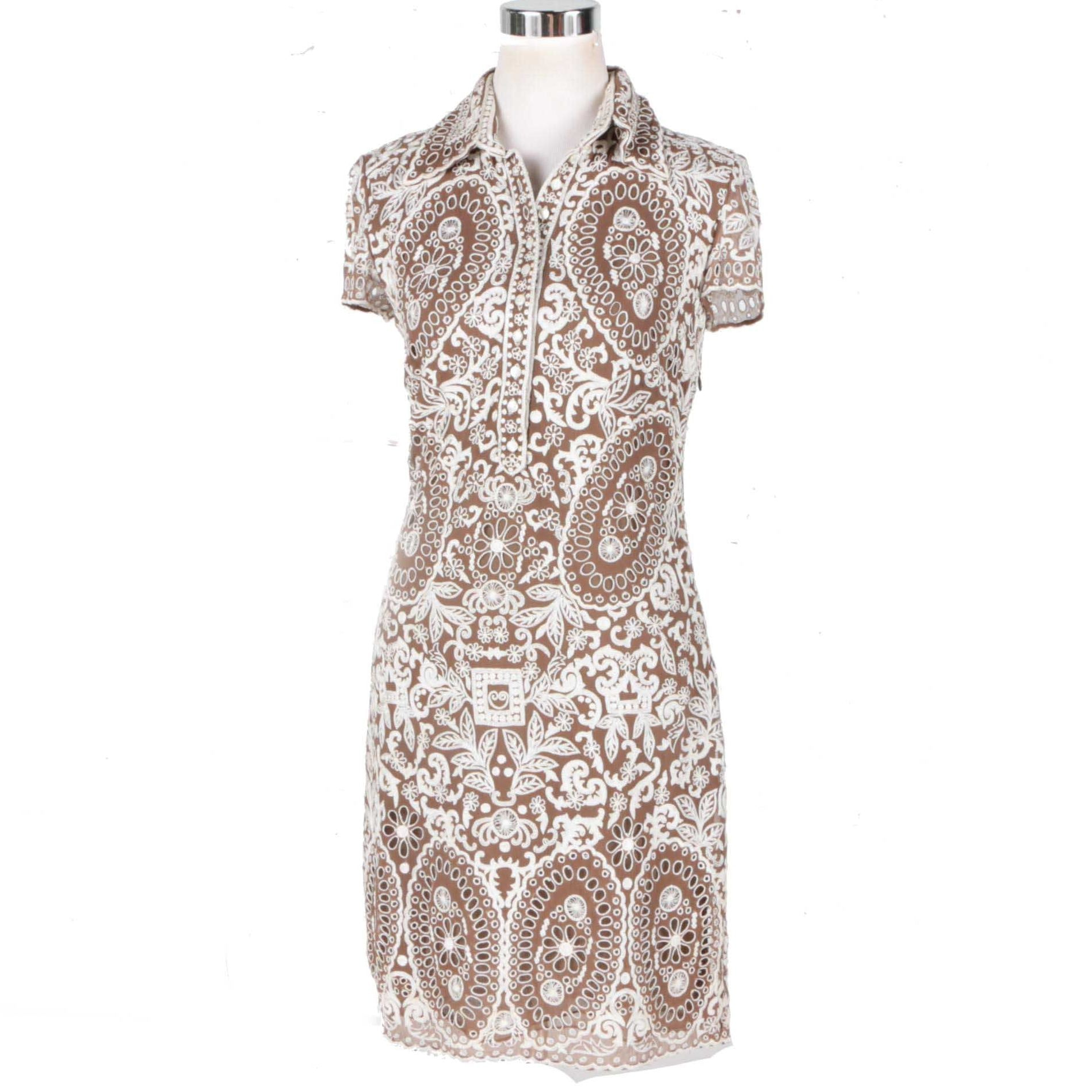 Naeem Khan Brown and White Silk Embroidered Dress