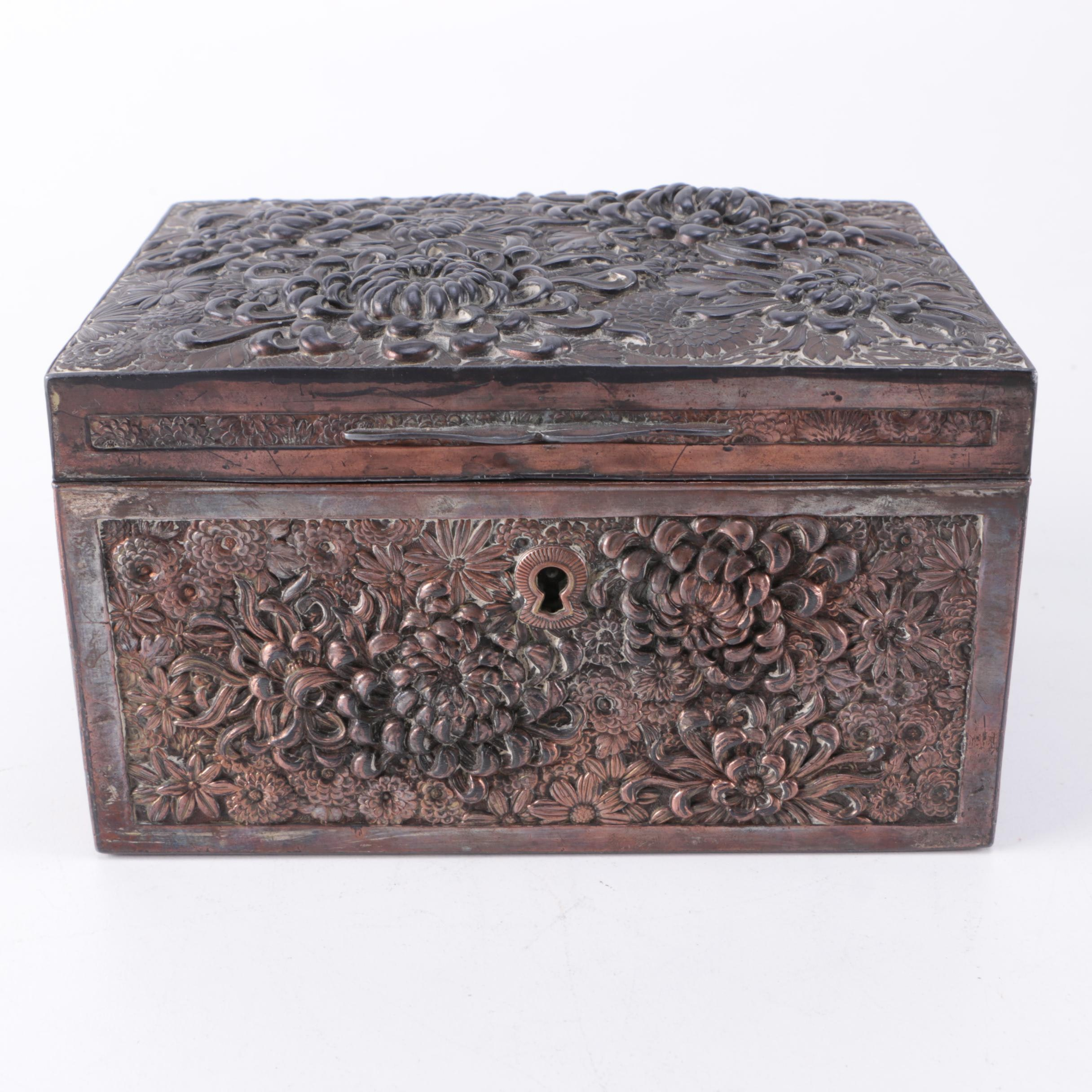 Antique Silver Plated Copper Keepsake Box