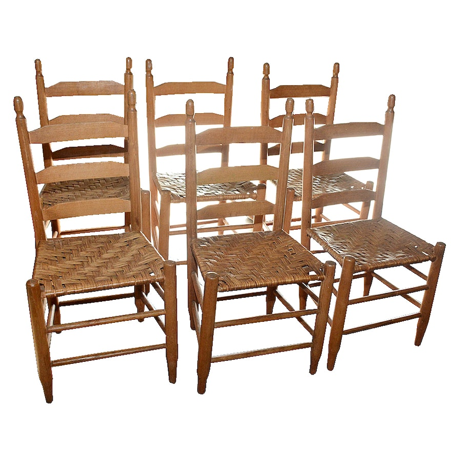 - Antique Ladderback Chairs With Hickory Bark Splint Seats : EBTH