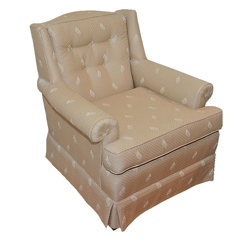 Beige Upholstered Wingback Armchair