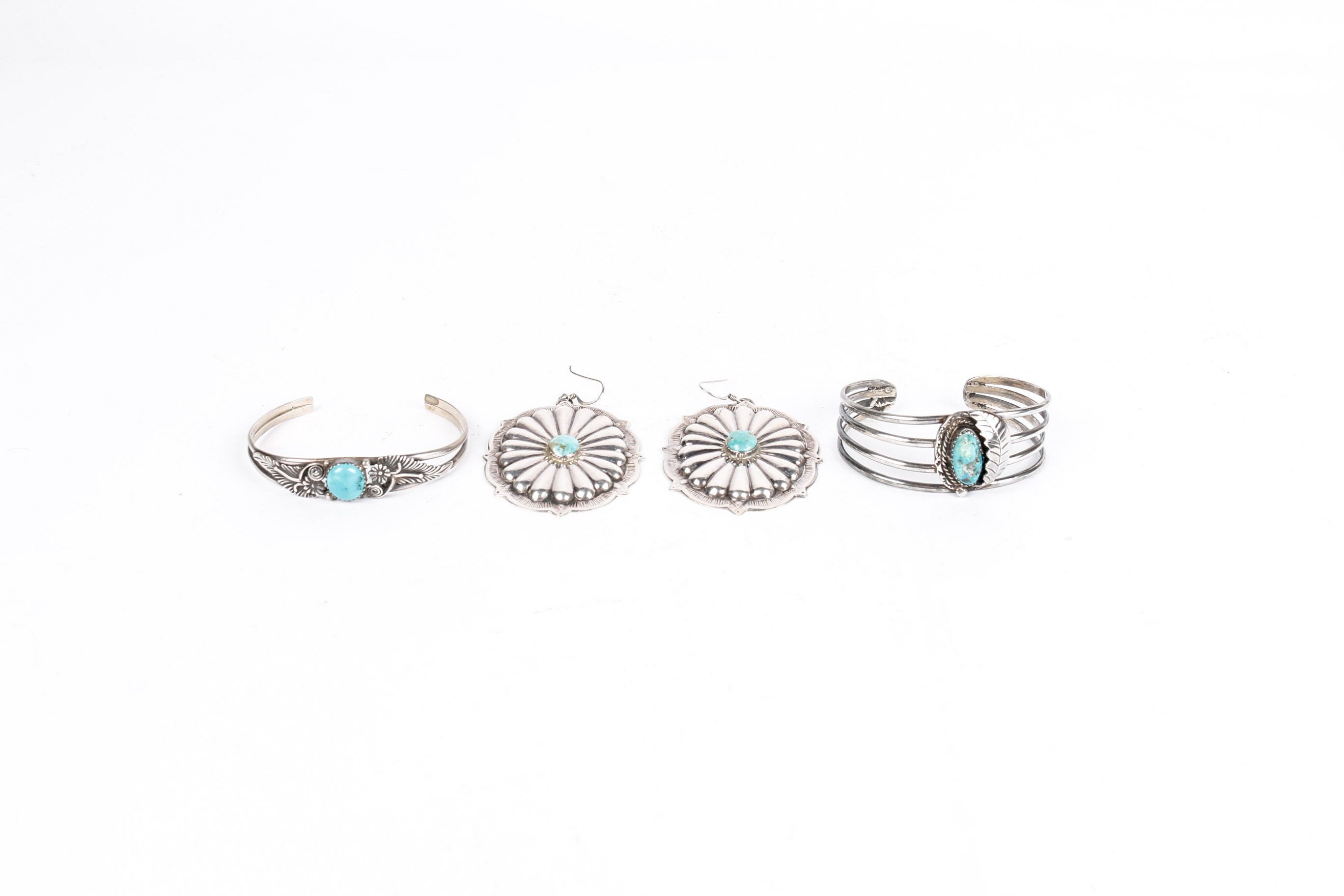 Sterling Silver and Turquoise Bracelets and Earrings