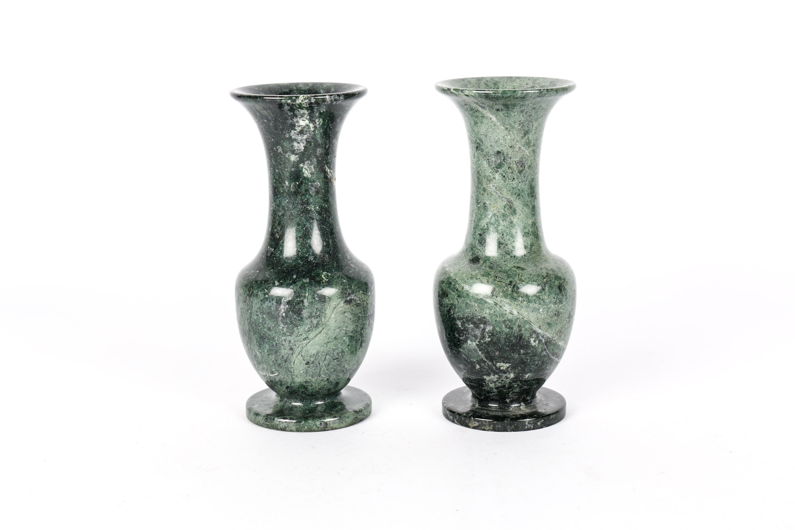 Two Taiwanese Green Marble Bud Vases