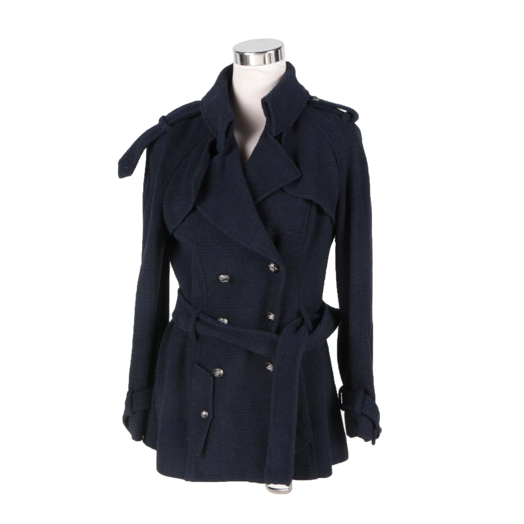 Chanel Navy Blue Wool Blended Women's Jacket