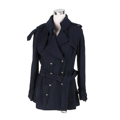 Chanel Navy Blue Wool Blended Jacket