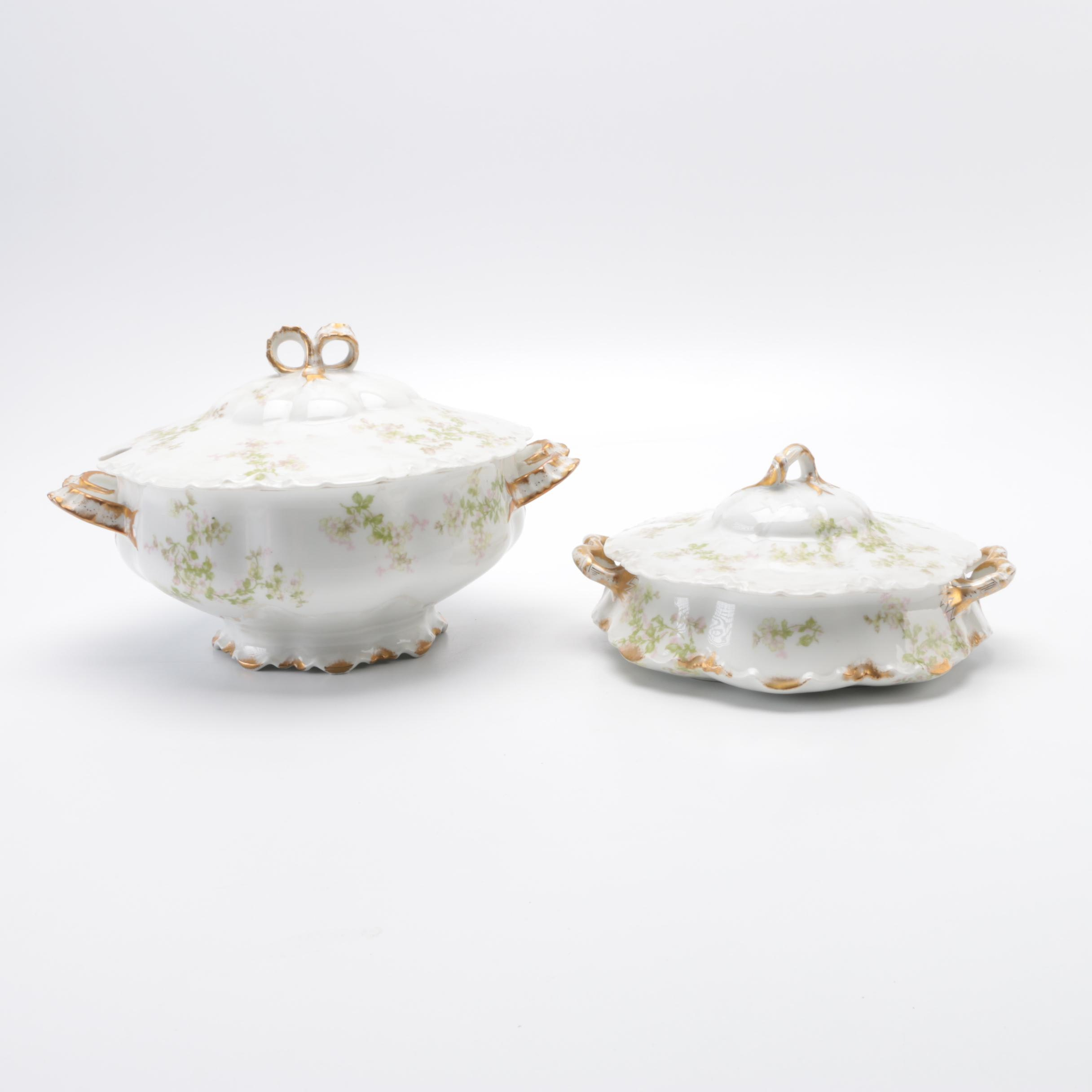 Limoges Porcelain Soup Tureen and Serving Bowl with Lid