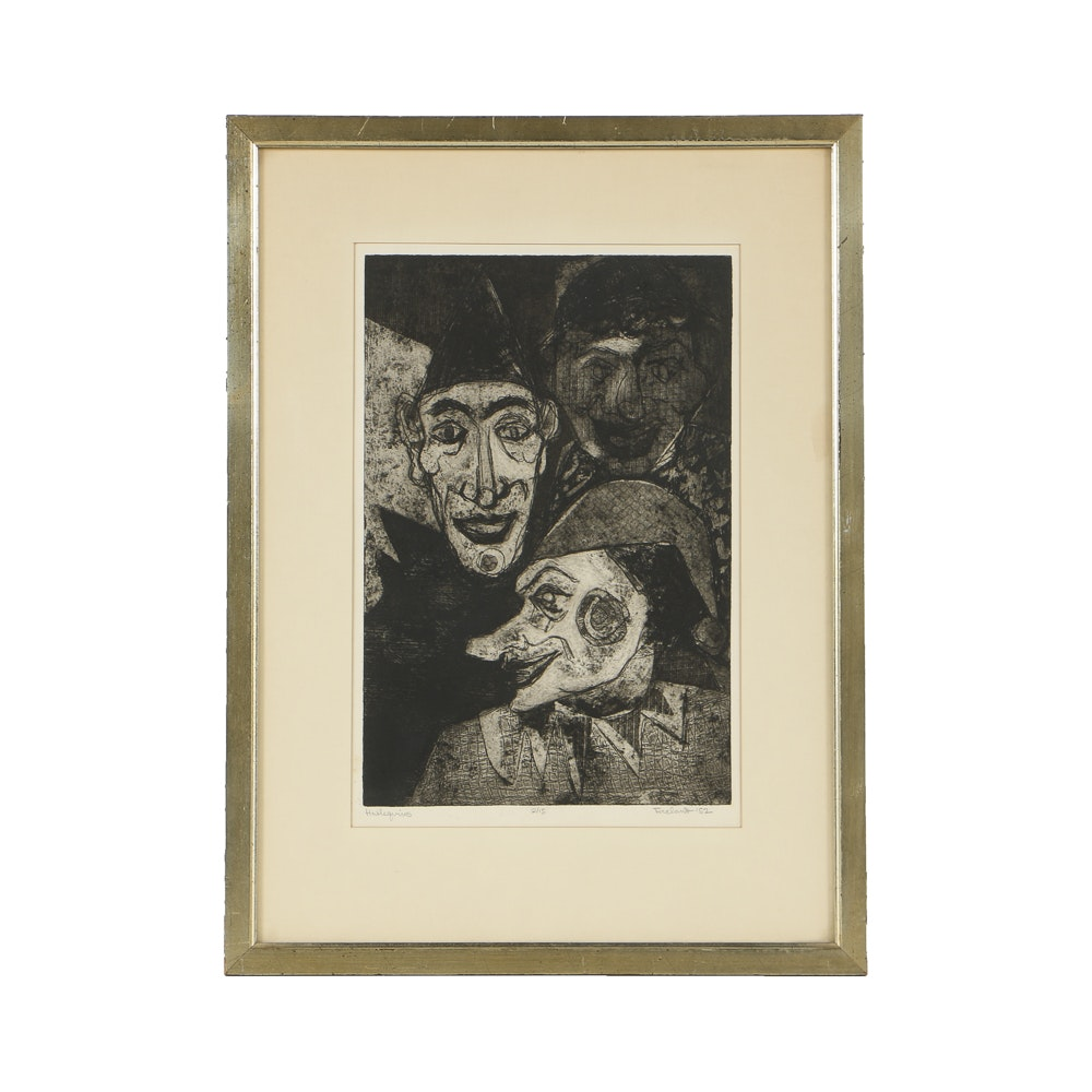 "Limited Edition Etching on Paper ""Harlequins"""