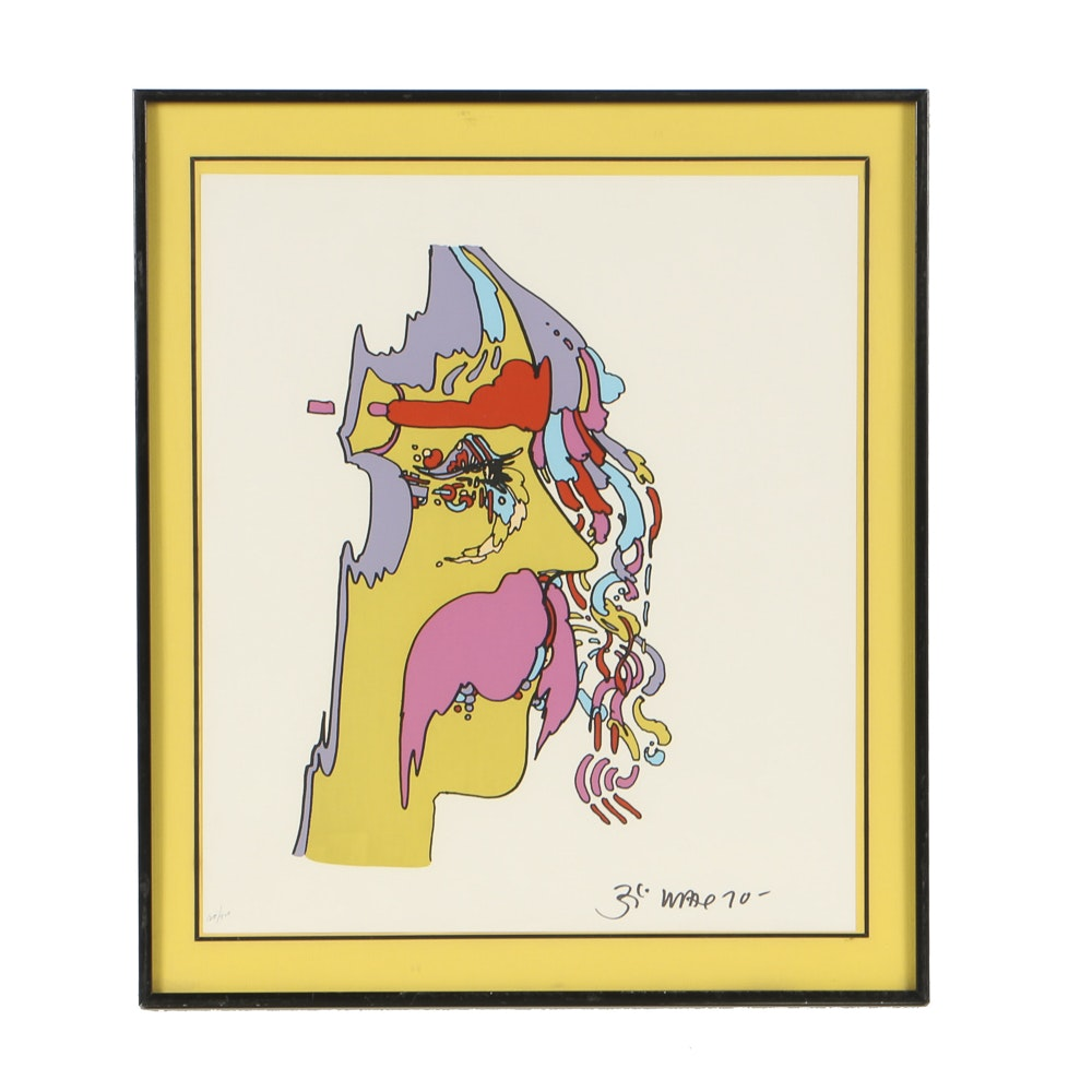 Peter Max Limited Edition Serigraph on Paper Portrait of Man