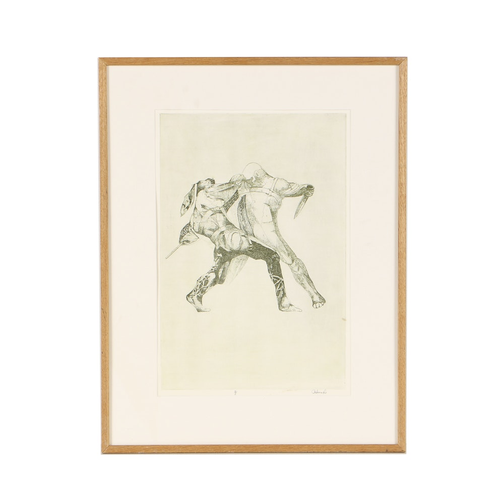 Limited Edition Etching with Aquatint on Paper Fighting Figures