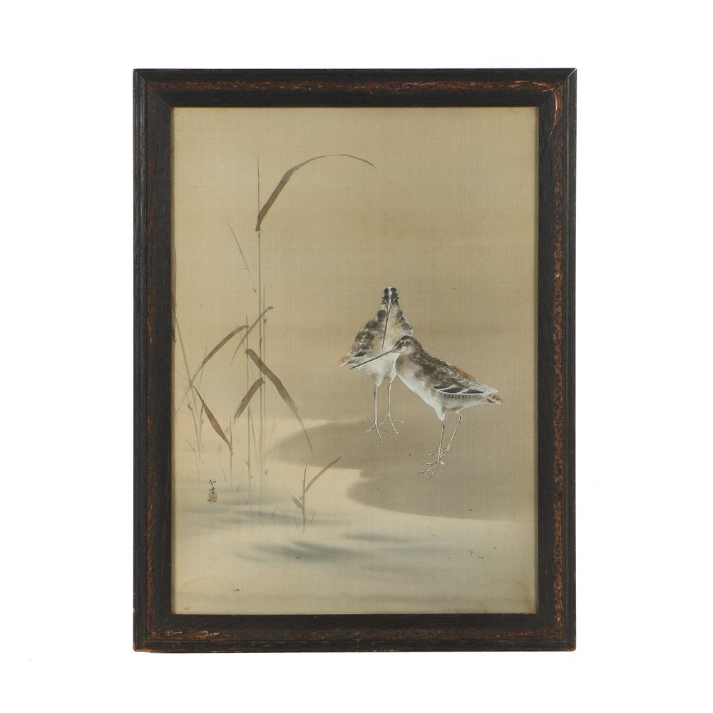 East Asian Gouache Painting on Silk of Woodcocks