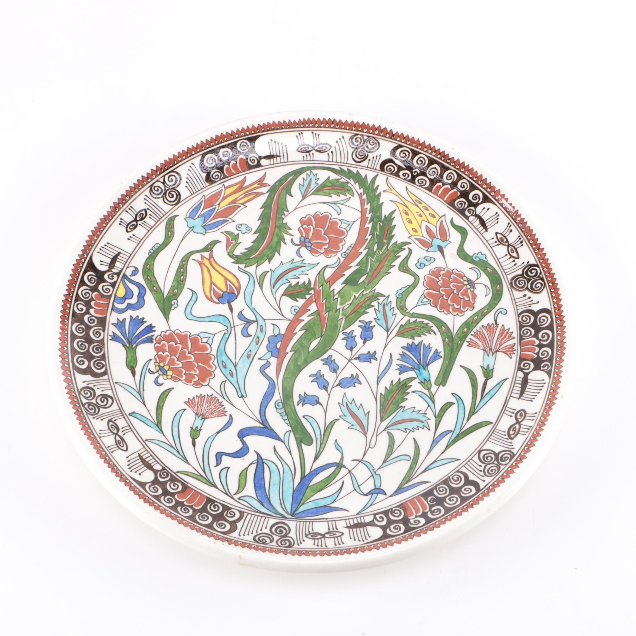 Hand-Painted Iznik-Style Ceramic Plate