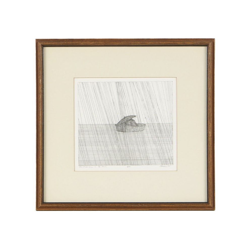 """Art Hansen Limited Edition Etching on Paper """"Two Fishermen in the Rain"""""""
