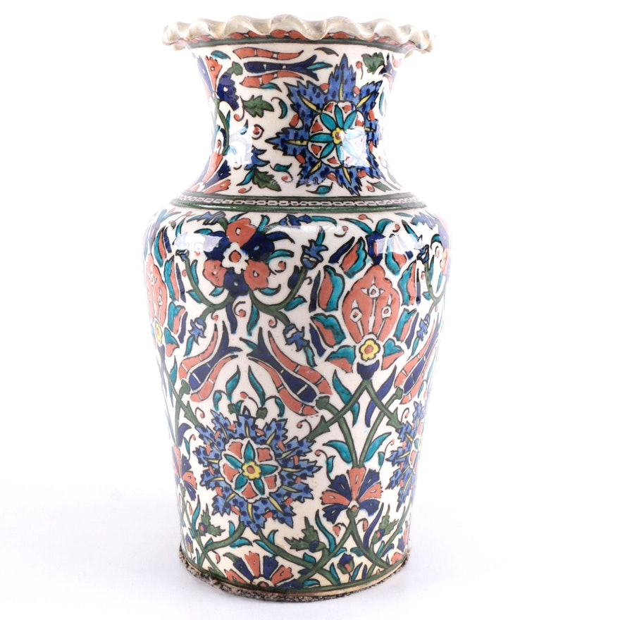 Hand Painted Iznik Style Ceramic Vase Ebth