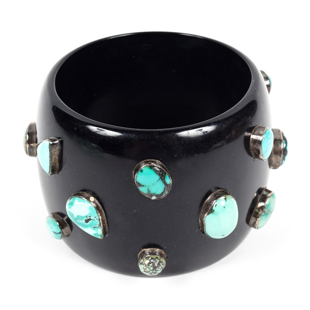 Black Bangle Bracelet With Sterling Silver and Turquoise